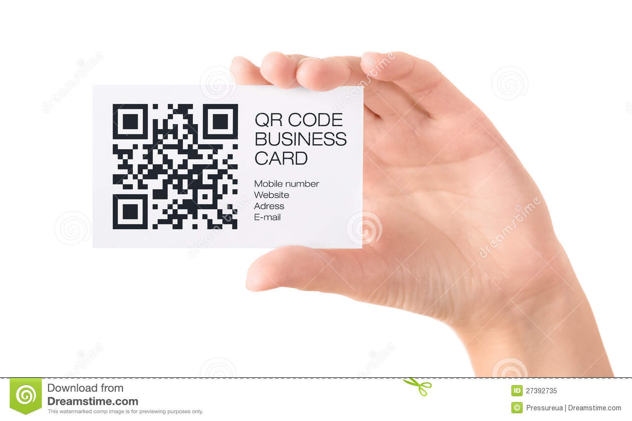 QR Code Business Card In Hand Isolated Editorial Image - Image of ...