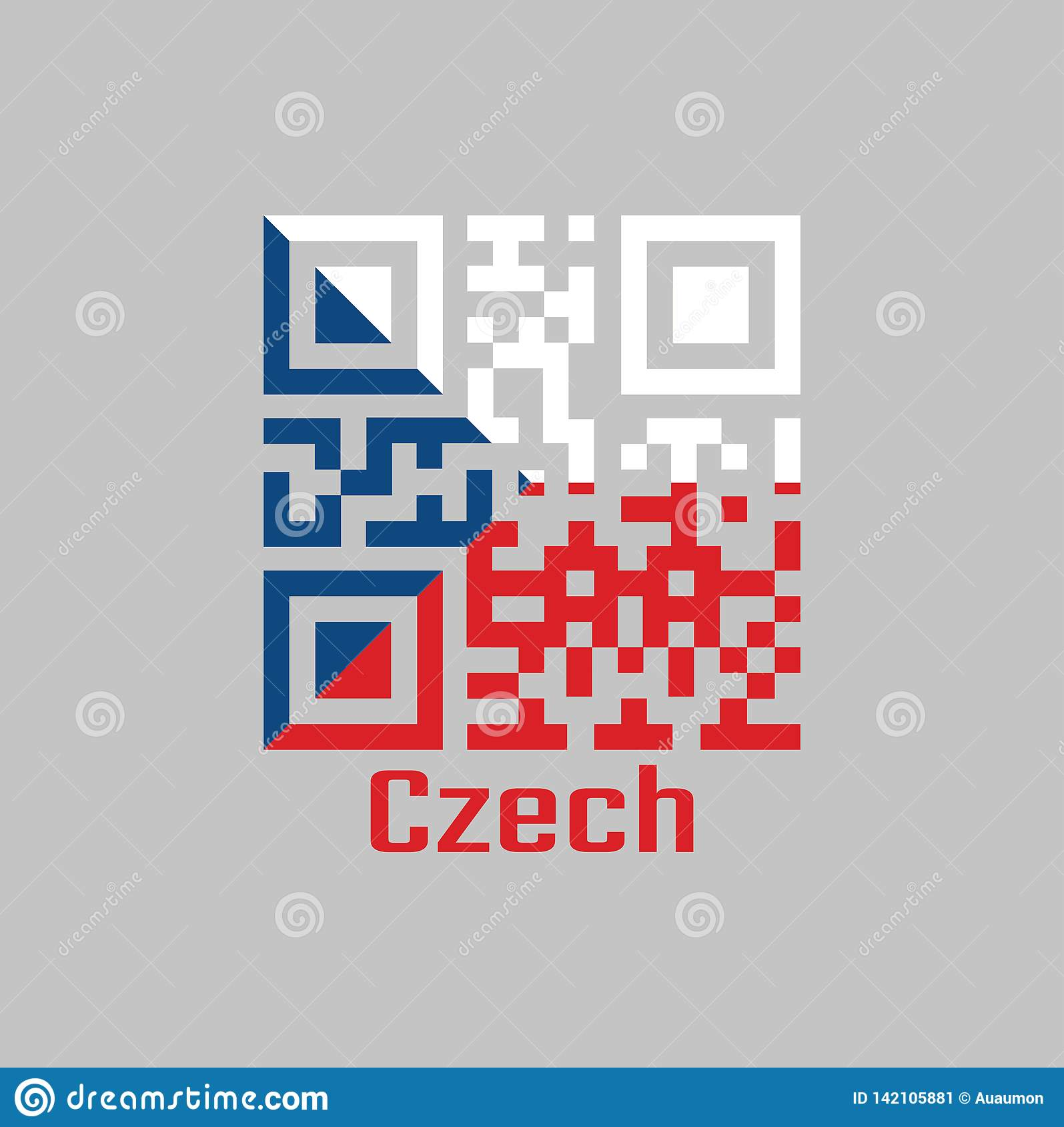 QR code set the color of Czech flag. two equal horizontal bands of white top and red with a blue isosceles triangle based on the