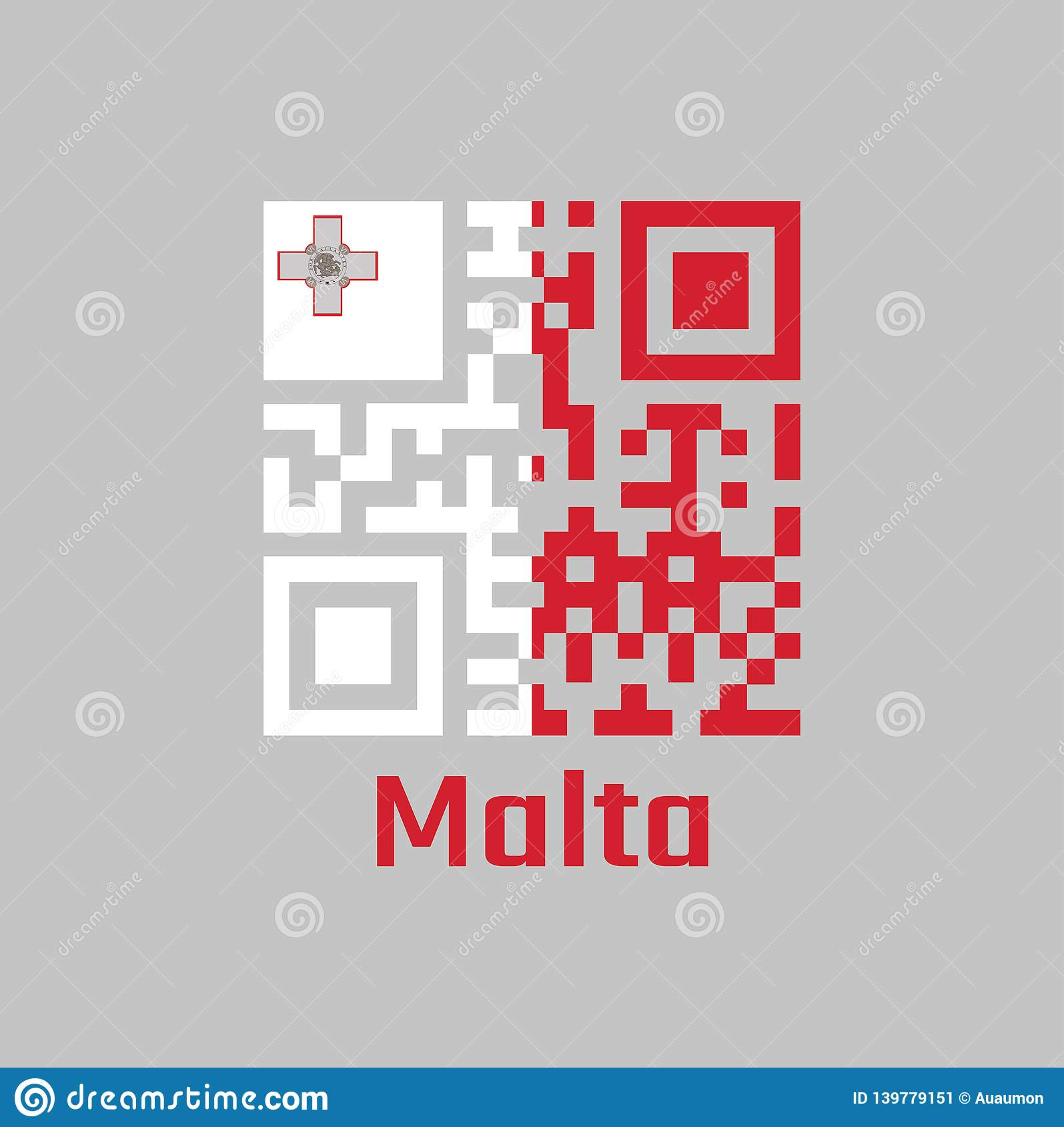 7a2bf273a773 QR code set the color of Malta flag. A vertical of white and red with the  representation of the George Cross edged with text Malta