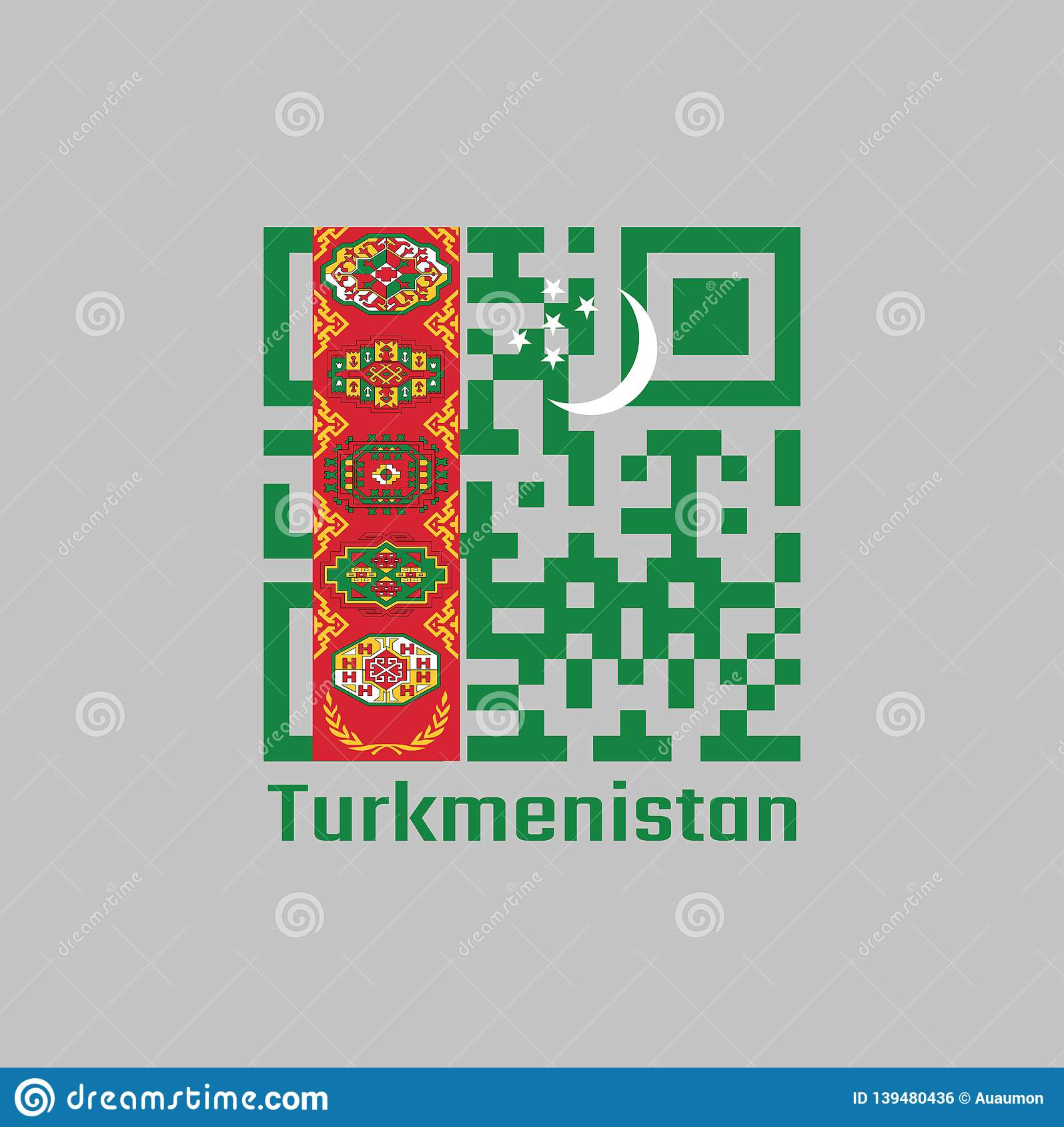Olive Color Code QR code set the color of Turkmen flag. green field with red stripe  containing five carpet guls stacked above two crossed olive branches;  crescent and stars ...