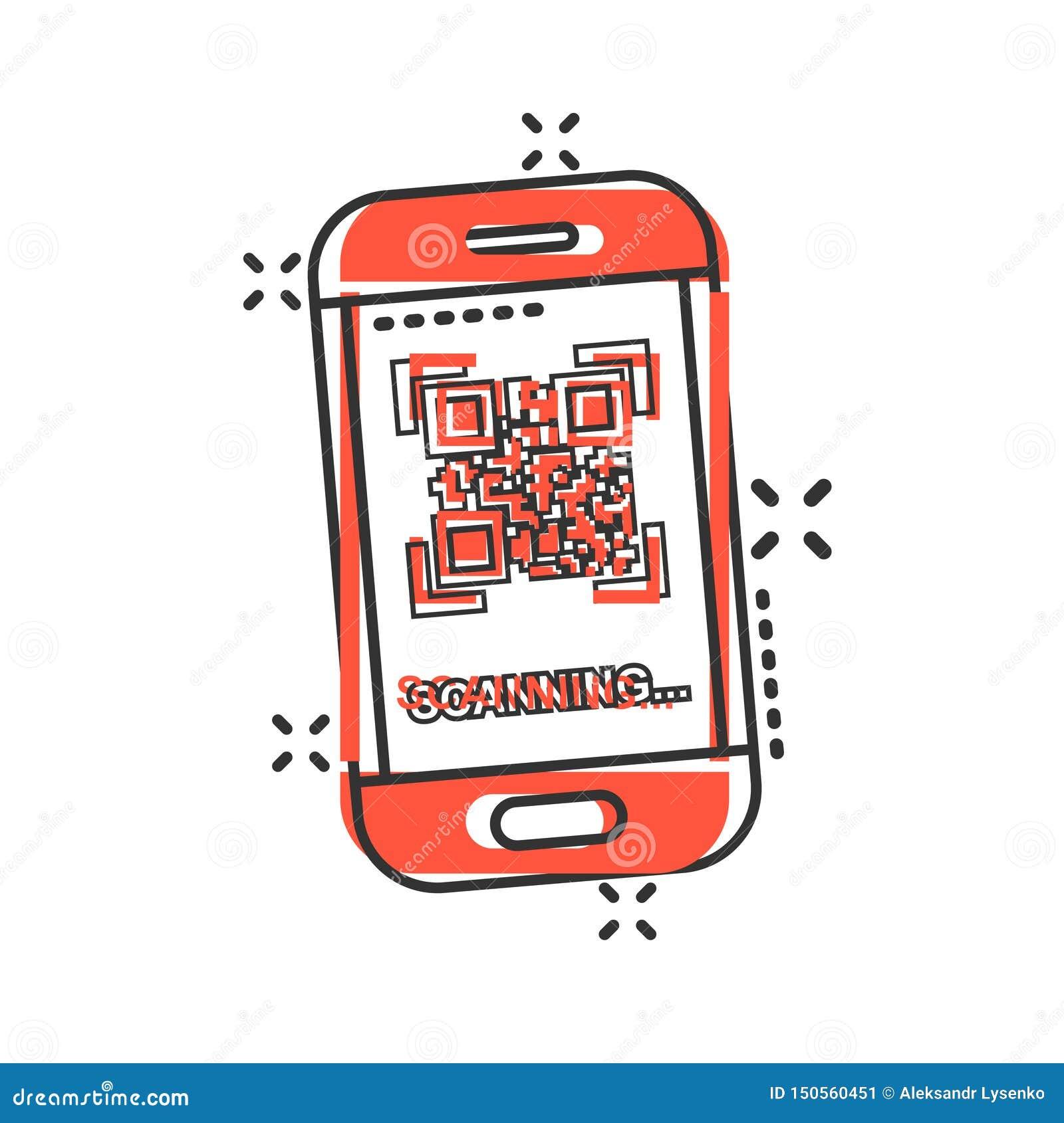 Qr kodu obrazu cyfrowego telefonu ikona w komiczka stylu Przeszukiwacz w smartphone kreskówki wektorowej ilustracji na białym odo