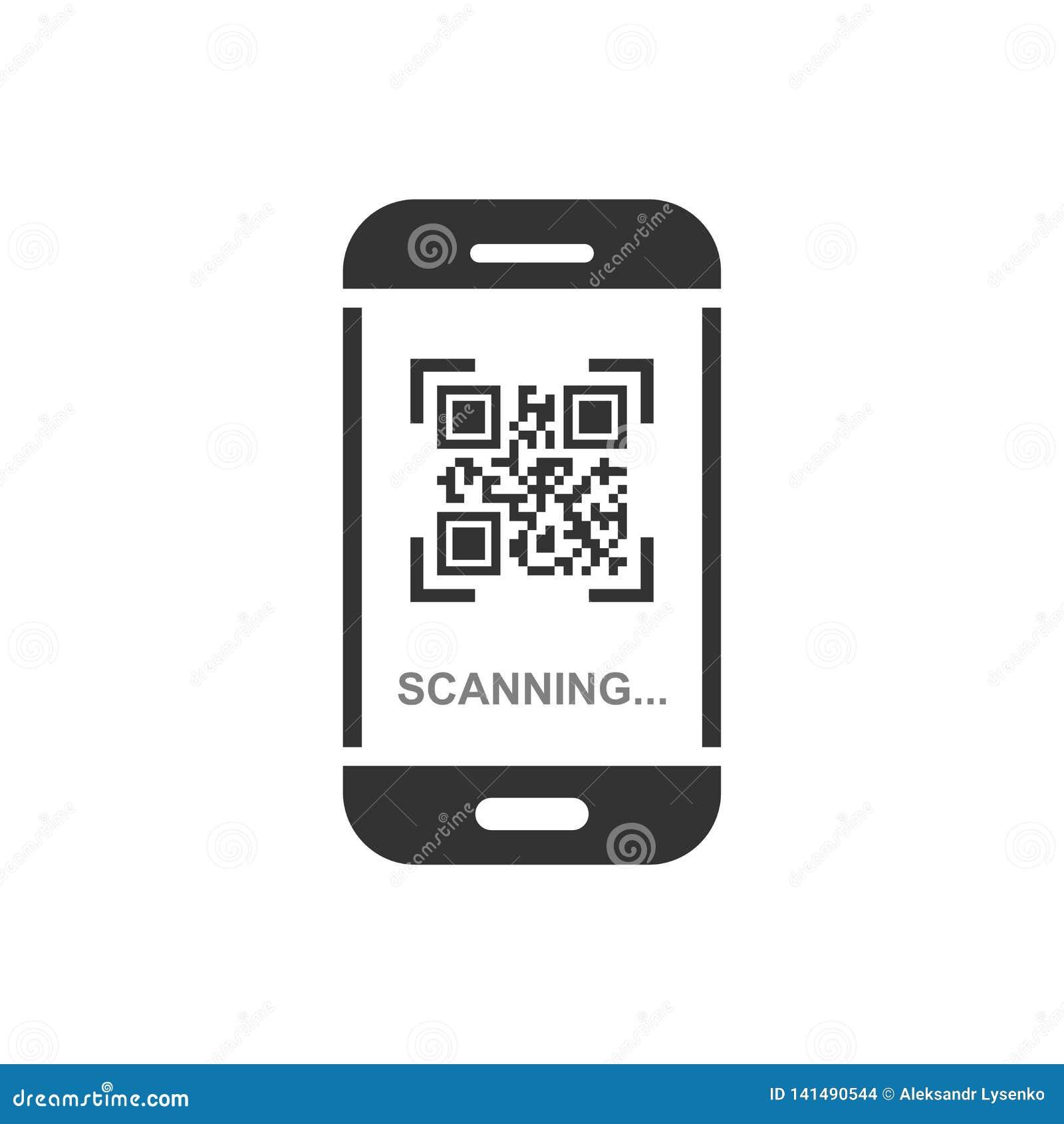 Qr kodu obrazu cyfrowego telefonu ikona w mieszkanie stylu Przeszukiwacz w smartphone wektorowej ilustracji na białym odosobniony