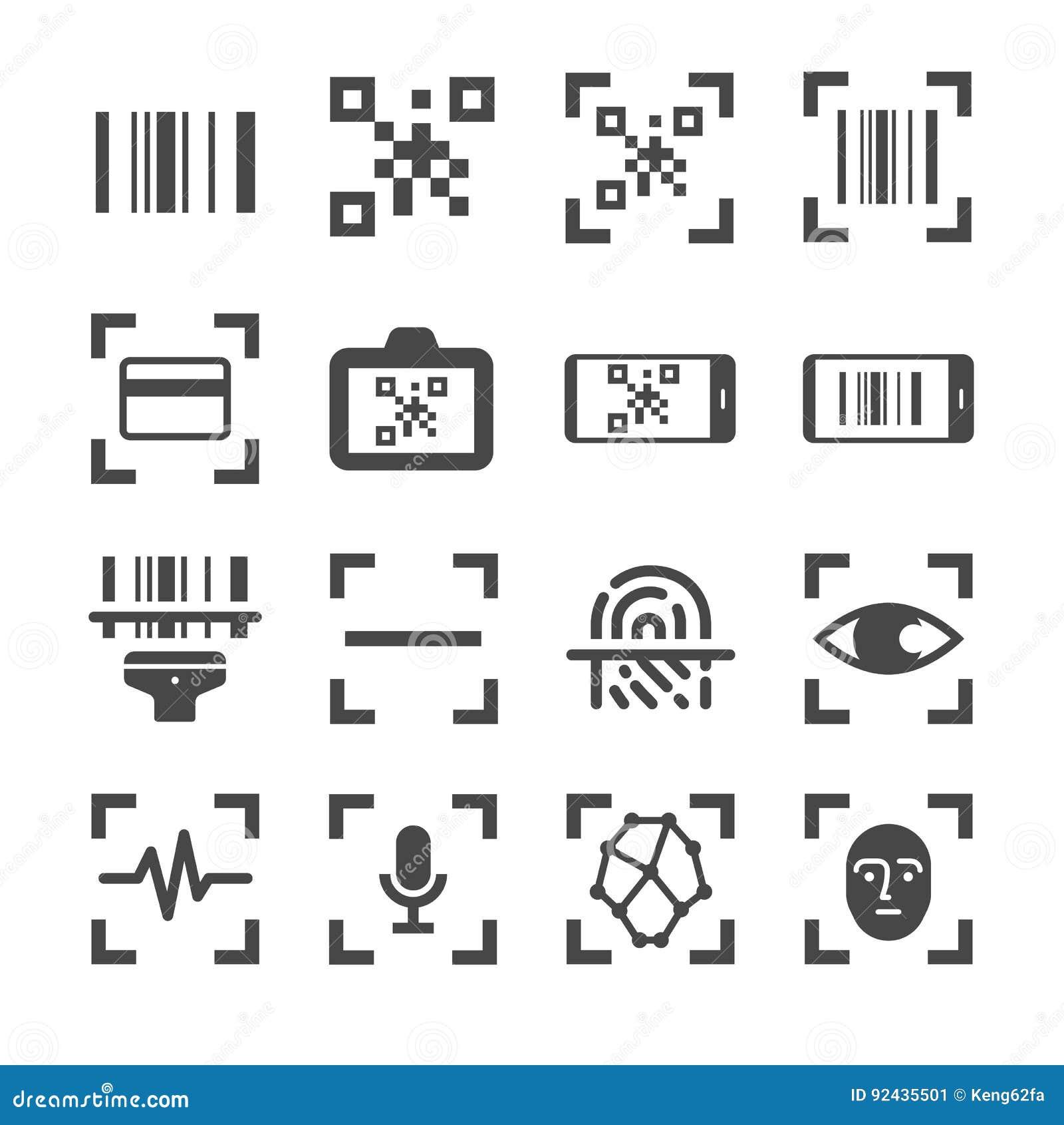 Qr kodu przeszukiwacza i prętowego kodu obrazu cyfrowego wektor wykłada ikona set Zawrzeć ikony jako qr kod, prętowy kod, przeszu