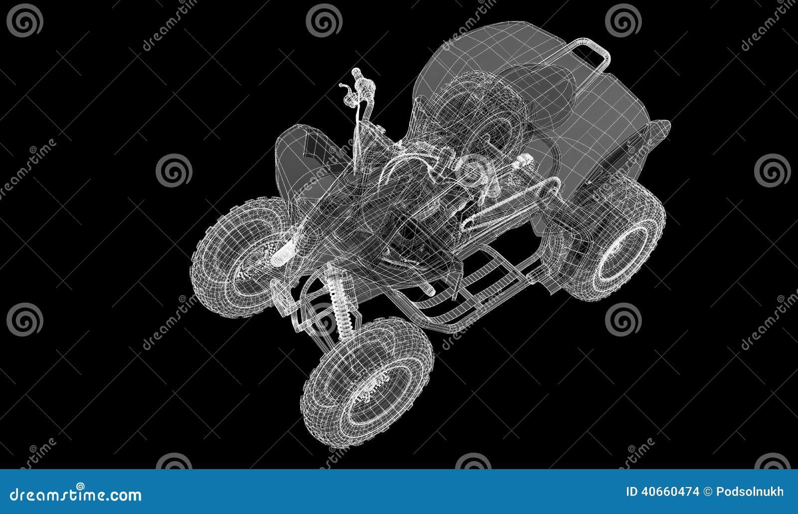 Quad Bike, Motorcycle, 3D Model Stock Illustration - Illustration of ...