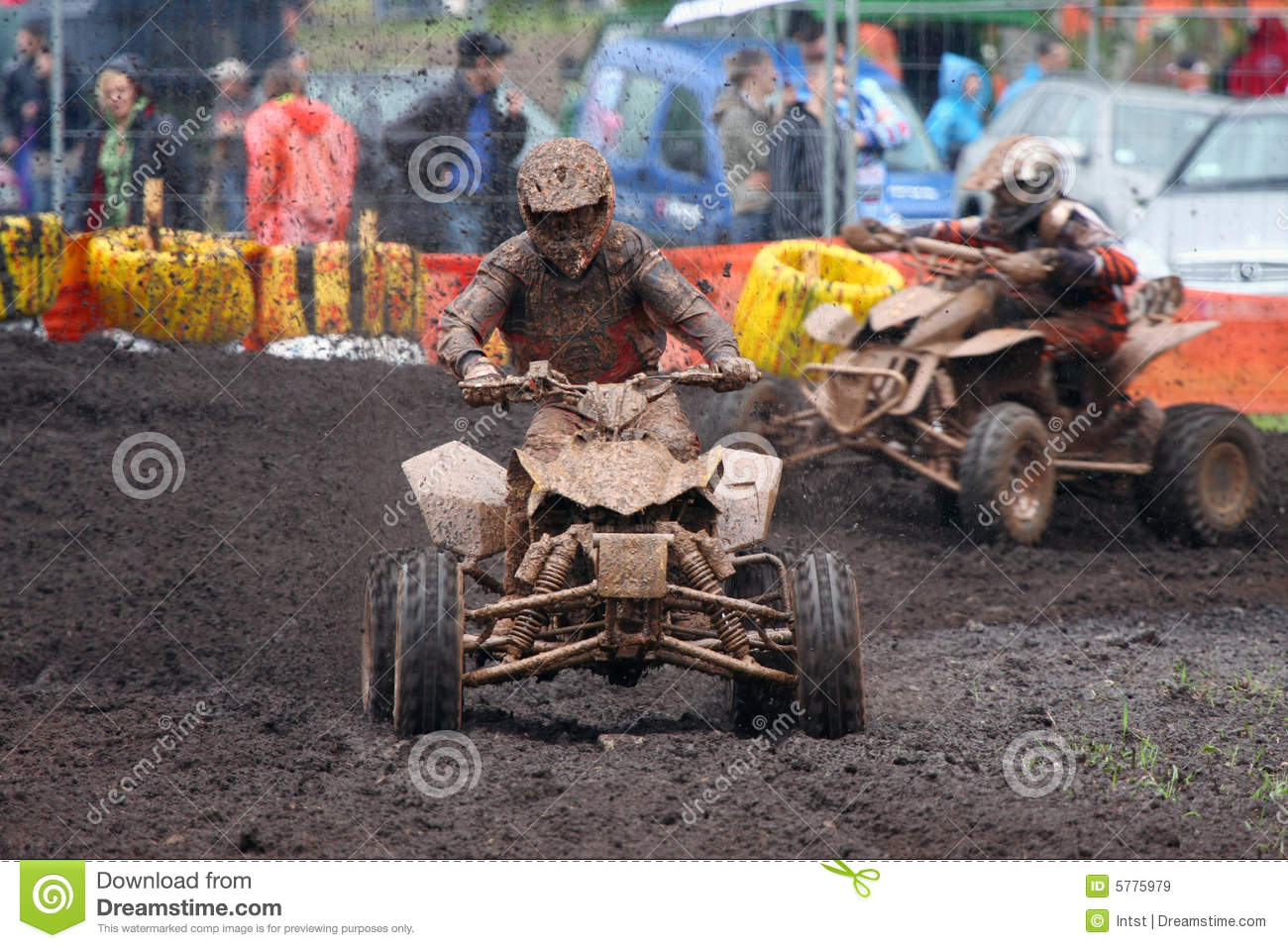Quad Bike Racing In Dirt And Mud Royalty Free Stock Images
