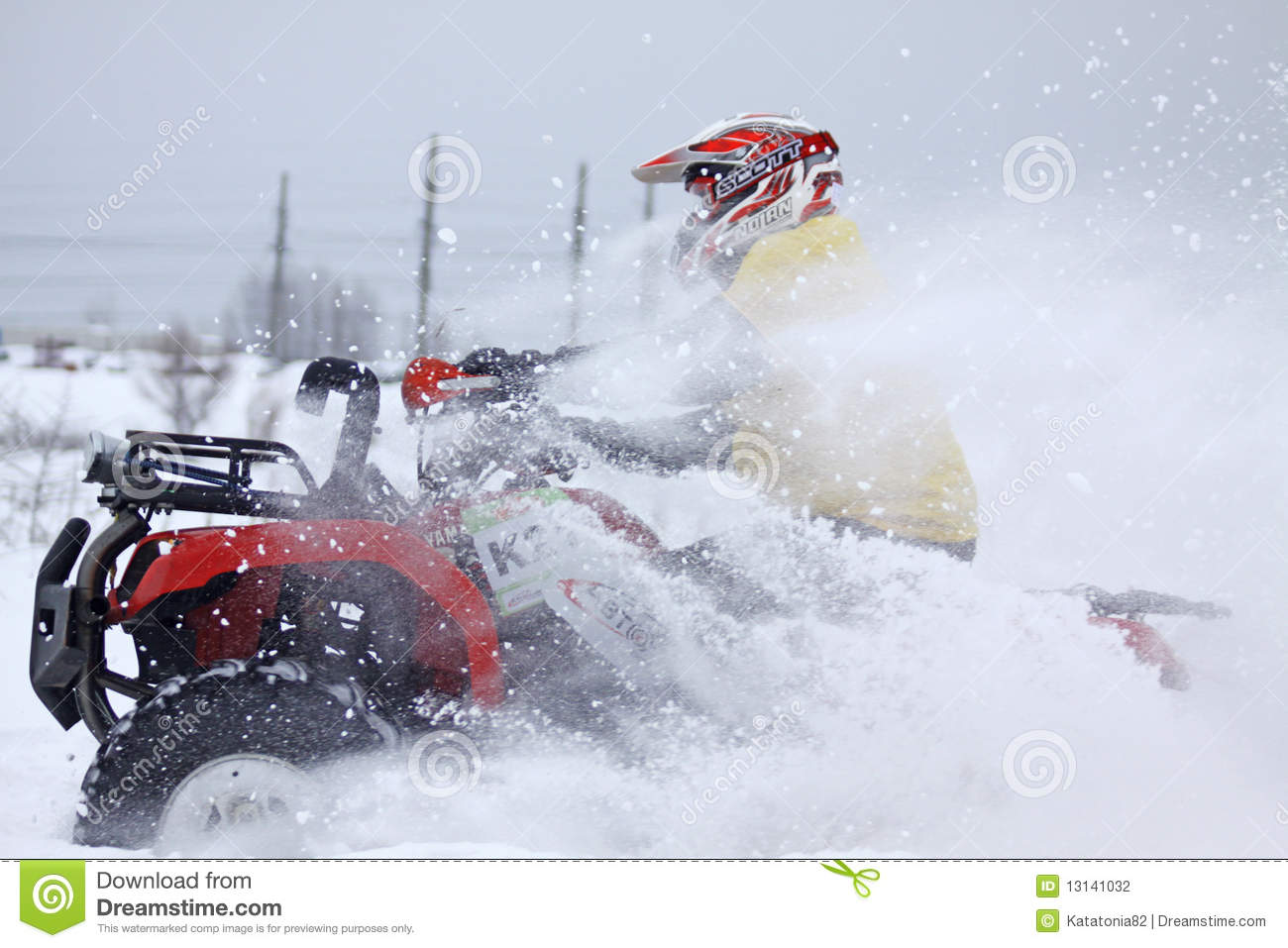 The quad bike 39 s driver rides over snow track editorial for Yamaha grizzly 660 tracks