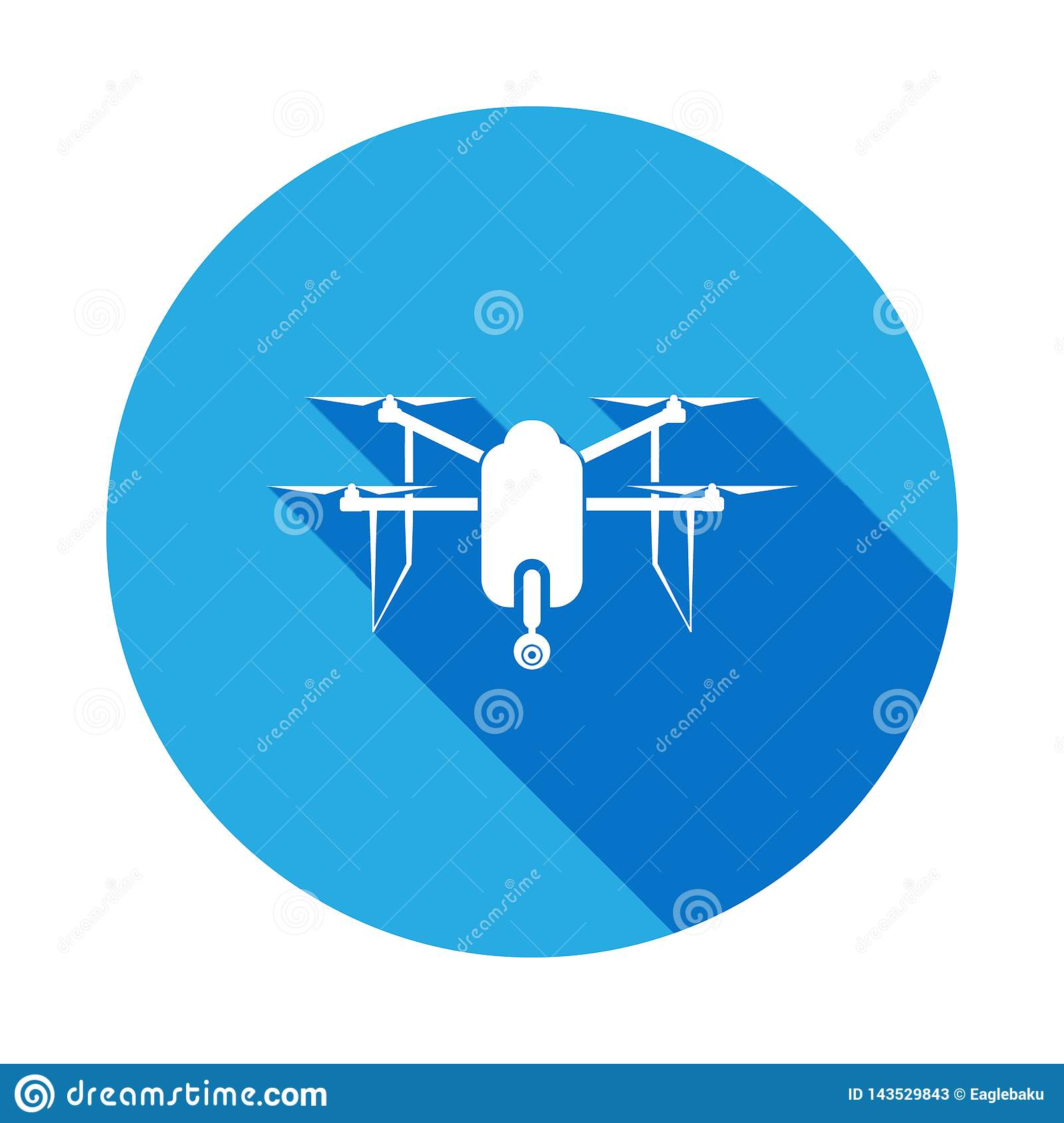Quadcopter Drone With Camera Icon With Long Shadow