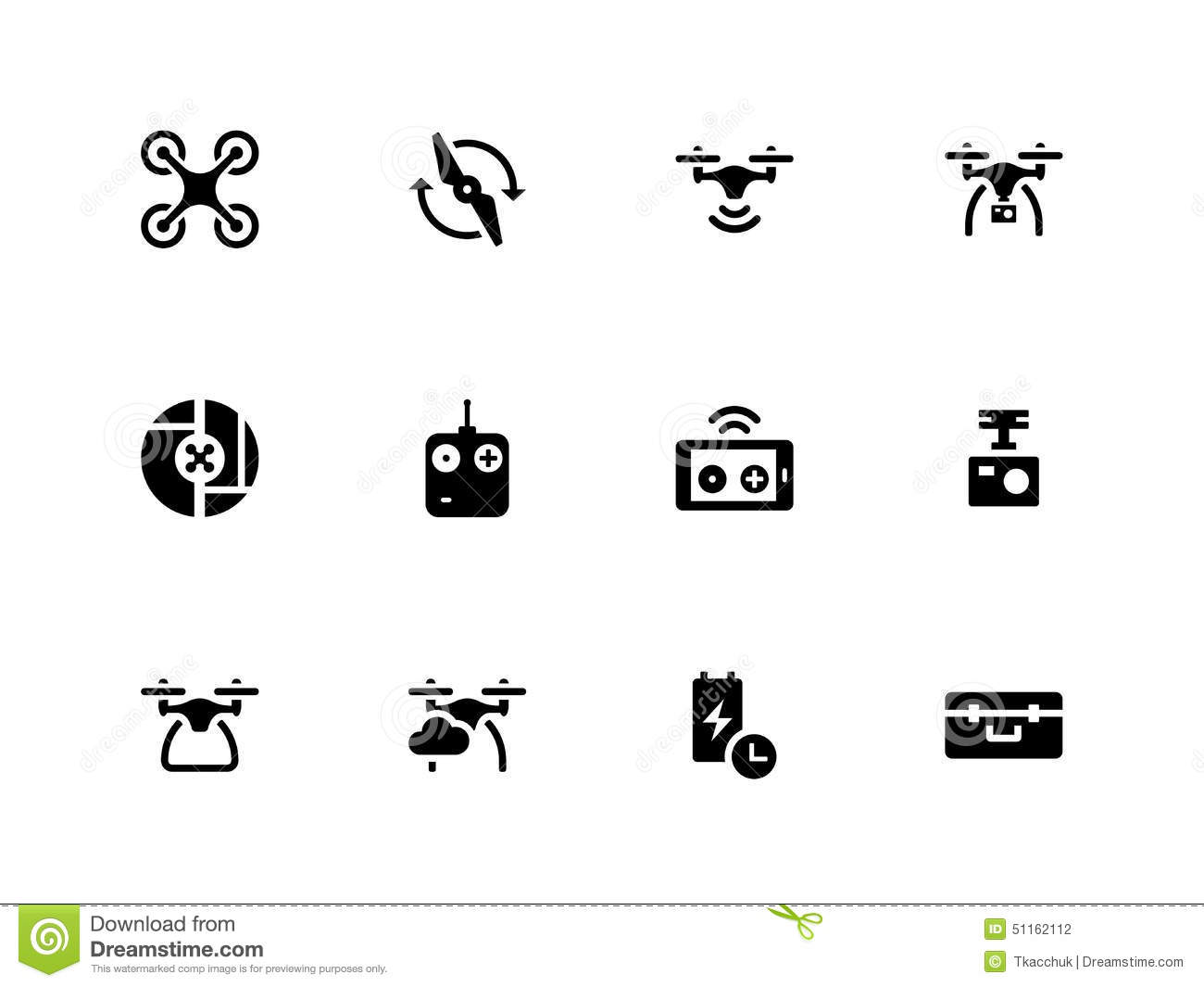 quadcopter and flying drone icons on white stock vector