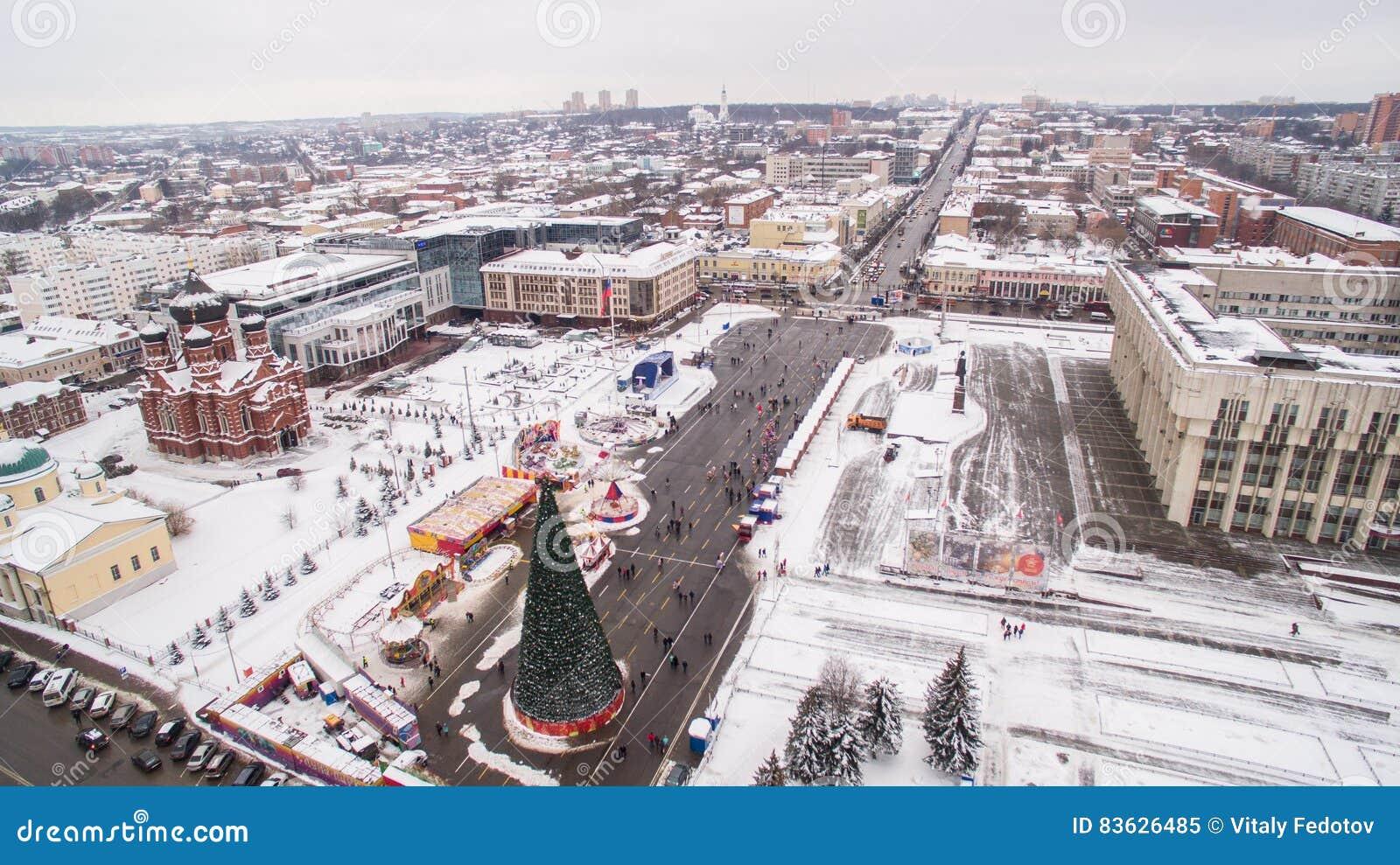 Quadrado central de Tula na opinião aérea 05 do inverno 01 Rússia 2017