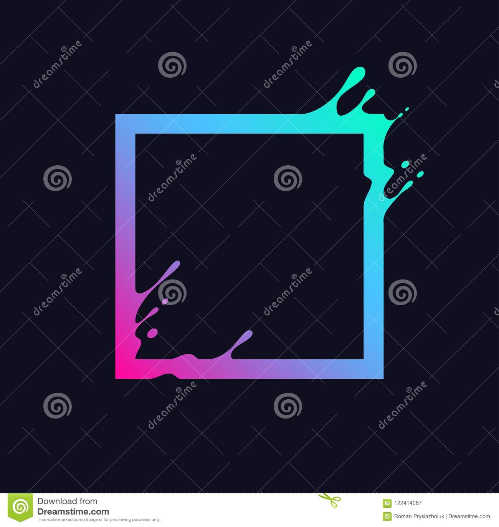 Quadrado colorido líquido Forma abstrata do retângulo do inclinação com respingo e gotas Projeto do efeito do fluxo para o logoti
