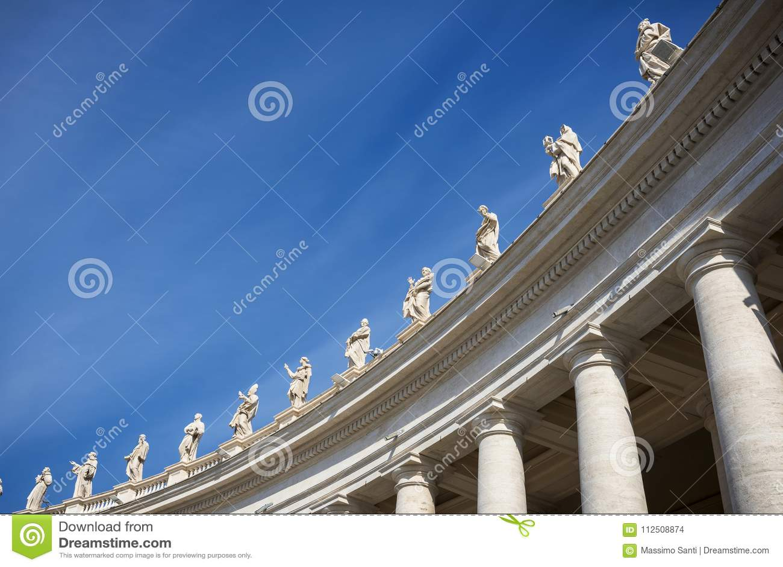 """Quadrado do ` s de San Pietro St Peter praça do †de Roma da """"- colunata do Bernini Gianlorenzo Italy"""