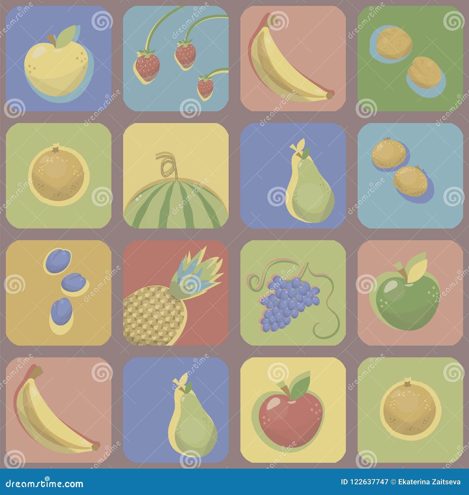 Quadrados coloridos com cantos arredondados com imagens de frutos brilhantes, de baga com sombra de contraste da cor, de brilho e