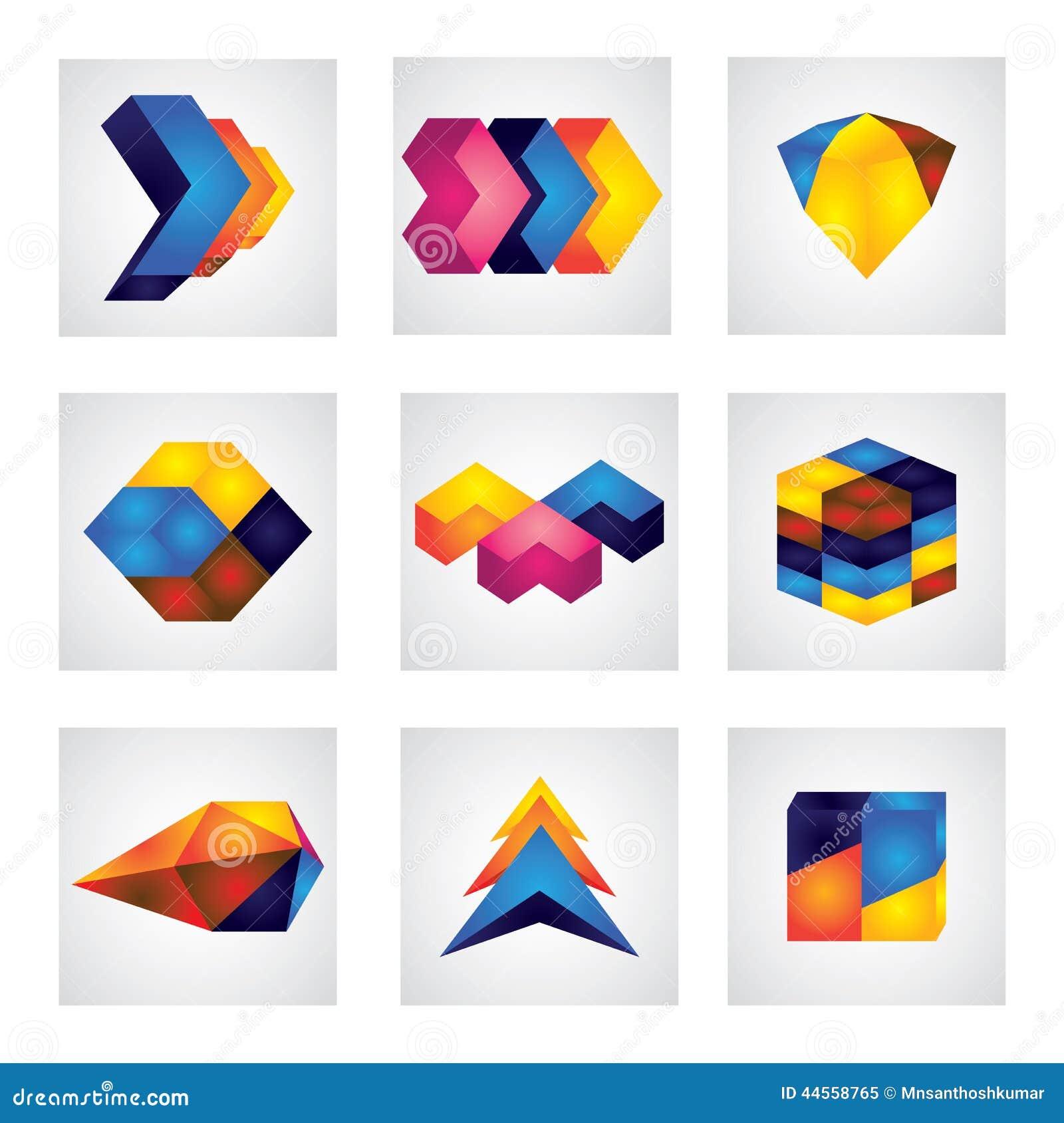 Quadrados 3d, setas & ícones abstratos do vetor do projeto do elemento do cubo