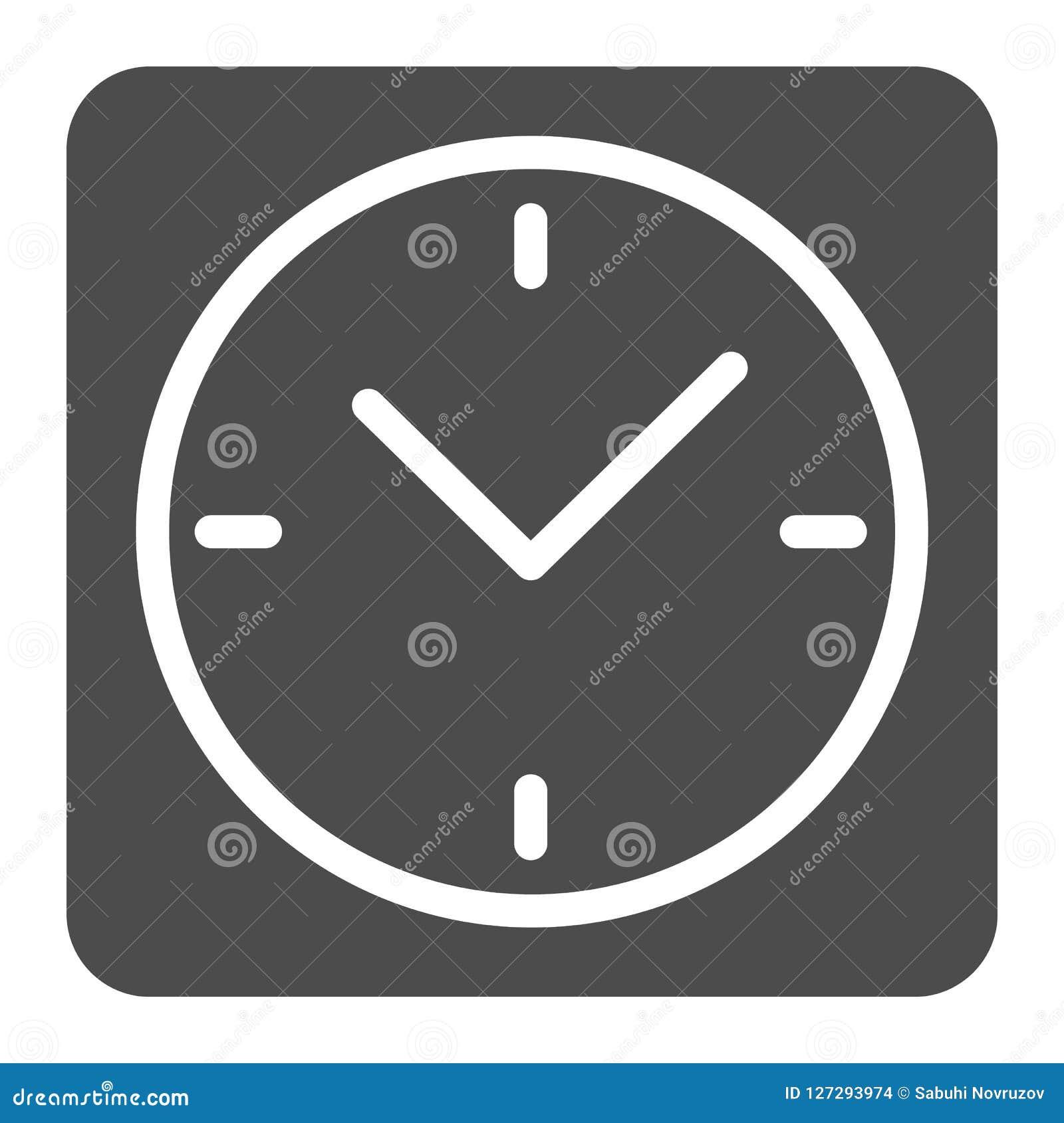Quadratische Uhrkörperikone Schreibtischuhr-Vektorillustration lokalisiert auf Weiß Uhr Glyph-Artdesign, bestimmt für Netz