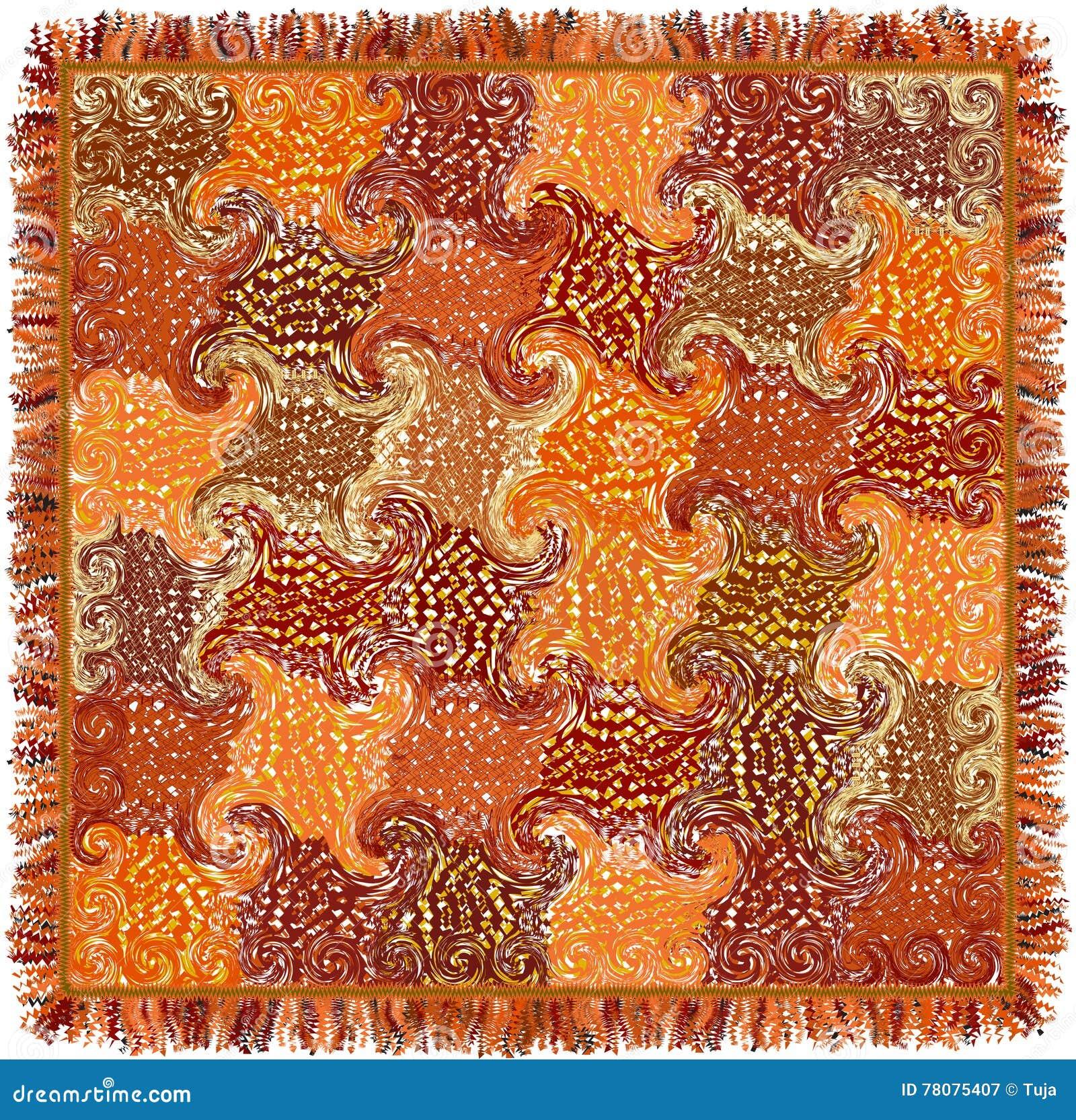 Quadratischer bunter Teppich mit Schmutz streifte und wirbelte Muster und Franse