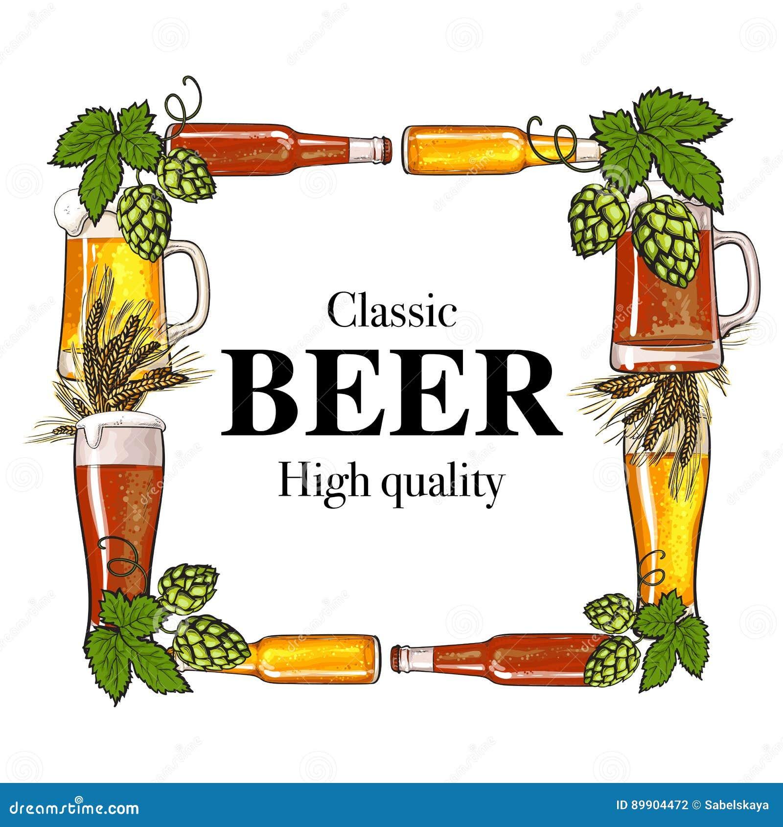 Quadratischer Rahmen Der Bierflasche, Des Bechers, Des Glases, Des ...