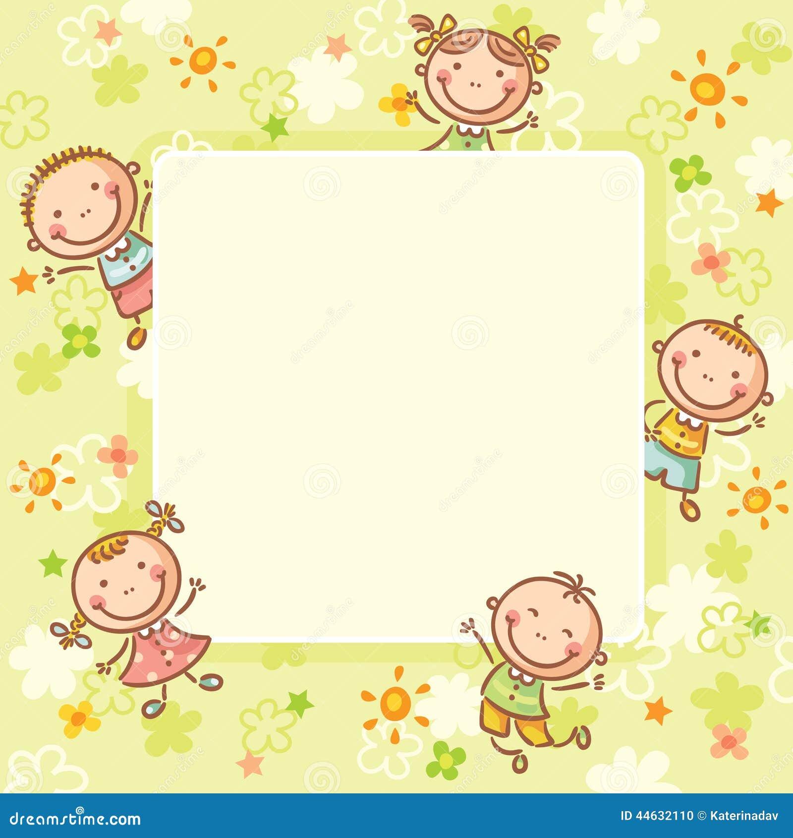 Quadratischer Rahmen Mit Fünf Kindern Vektor Abbildung ...