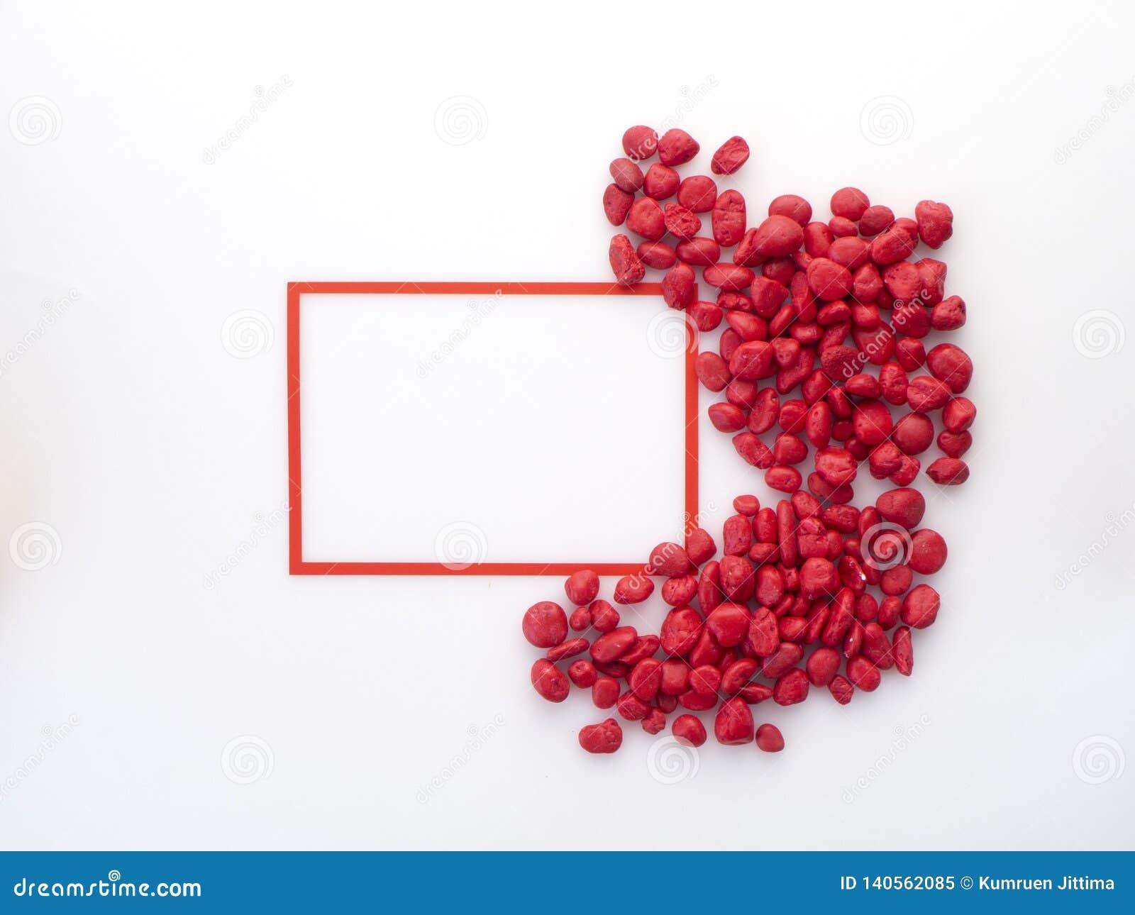 Quadratischer Rahmen mit rotem stoneon Weiß