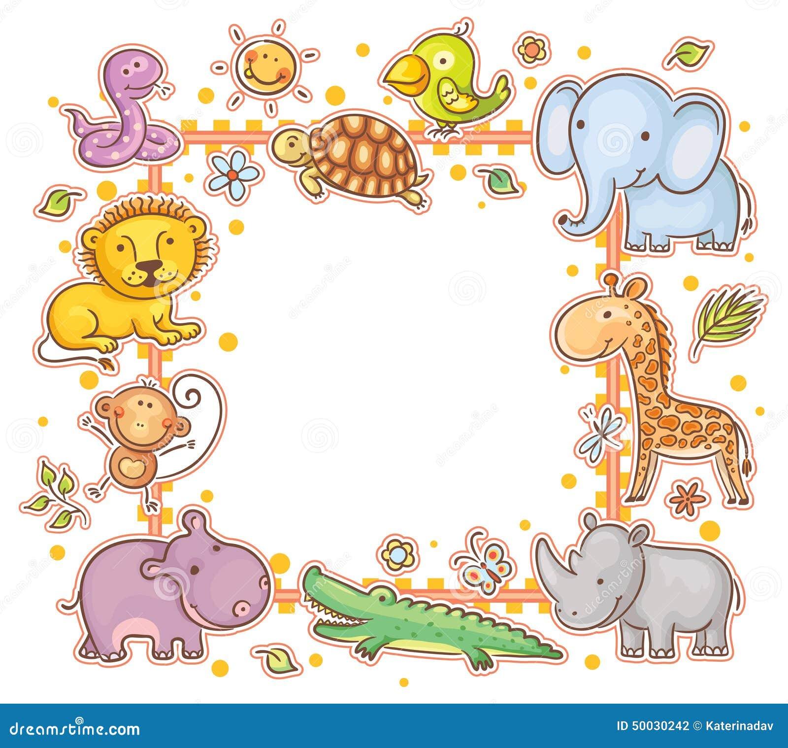 Quadratischer Rahmen Mit Wilden Tieren Vektor Abbildung ...
