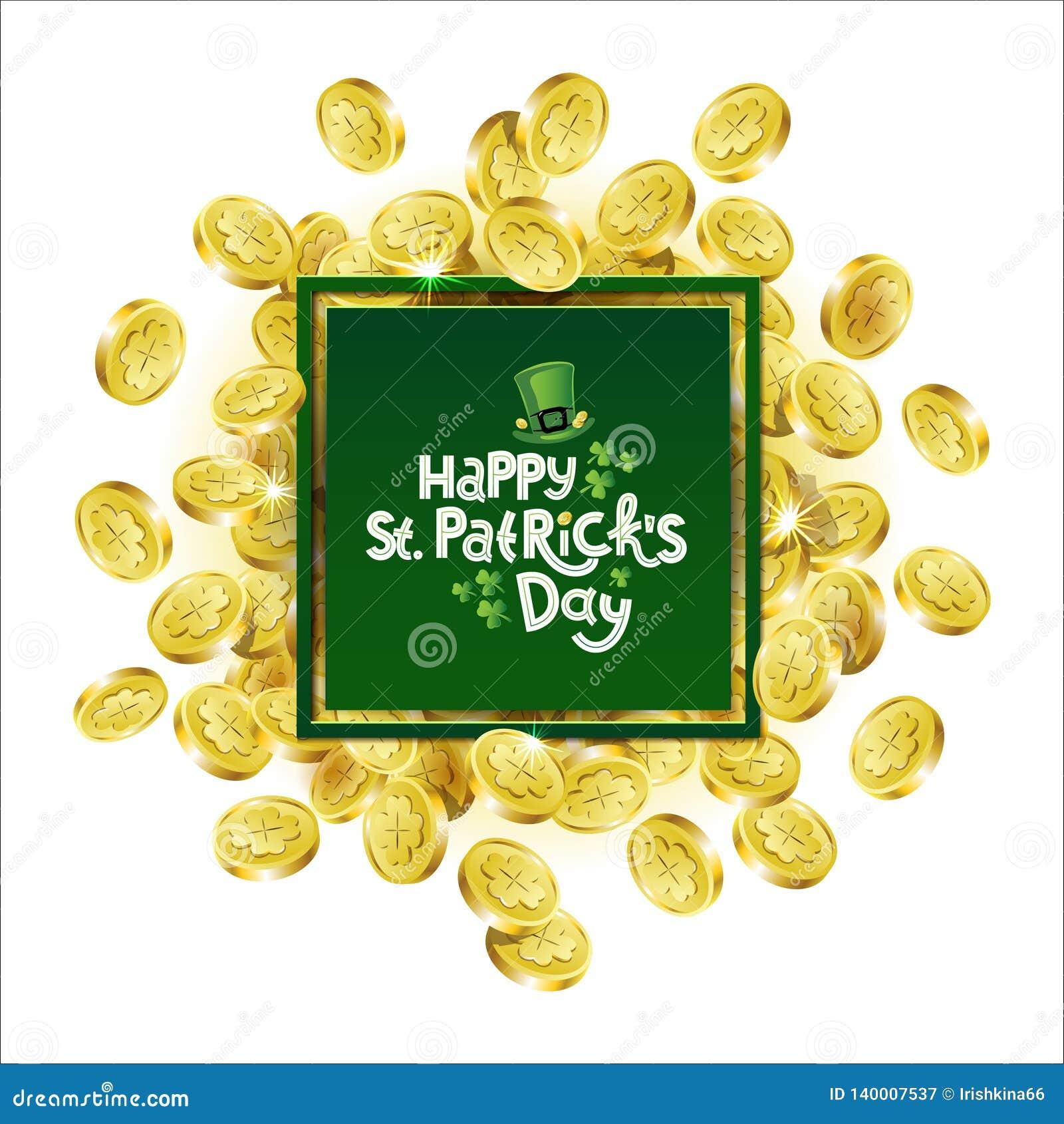 Quadratischer Werbungsrahmen des Vektor-Grüns Zerstreute goldene Münzen, die Shamrock mit dem Beschriften von Tag Text St. Patric