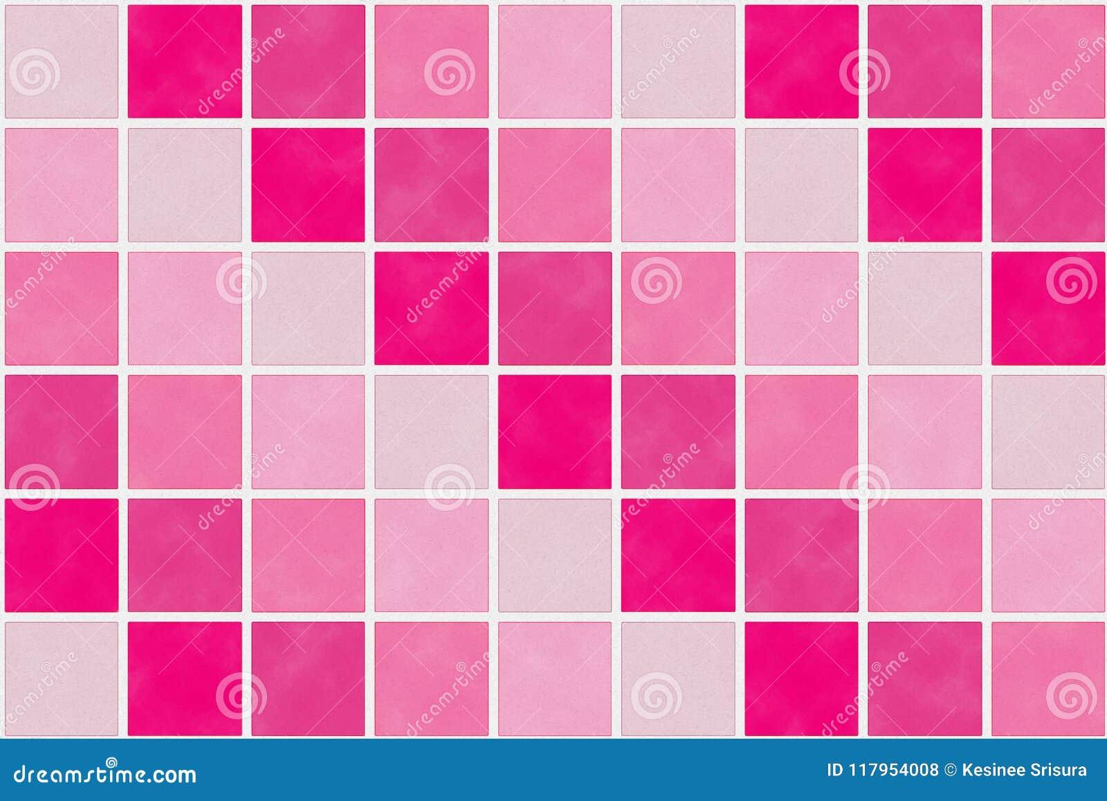 Quadratisches Muster Im Roten Und Rosa Farbton Stock Abbildung