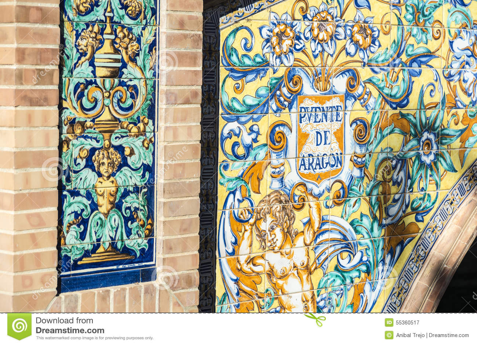 Quadrato della Spagna in Siviglia, Andalusia, Spagna