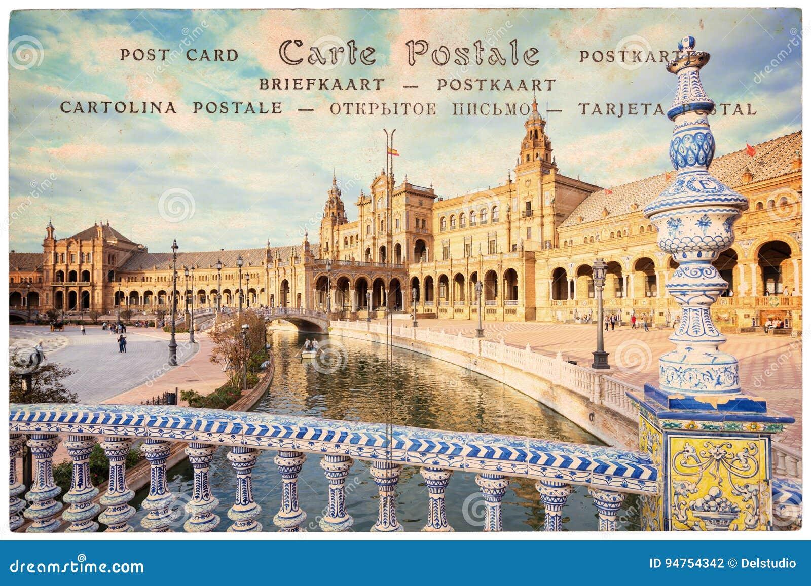 Quadrato di Plaza de Espana Spagna in Siviglia Andalusia, collage sul fondo d annata della cartolina