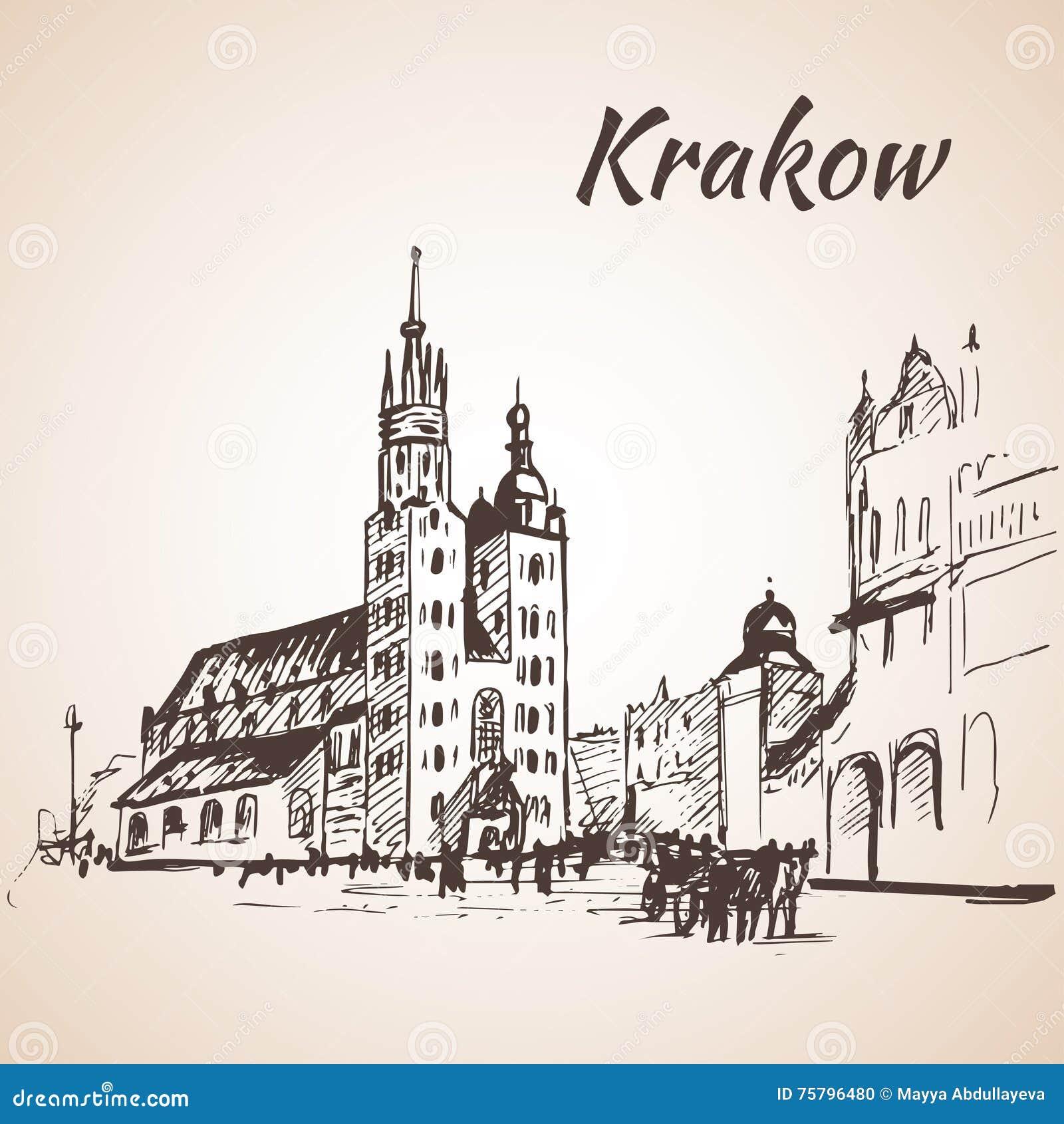 Quadrato principale, Cracovia, Polonia abbozzo