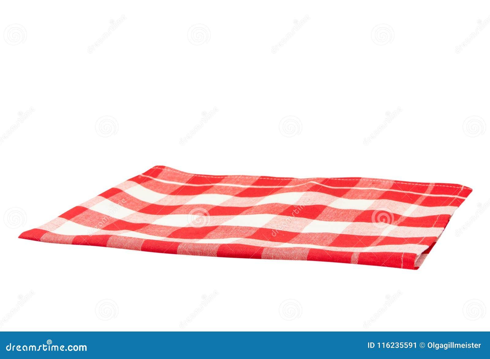 A quadretti bianco rosso della tovaglia vuota isolato su backgroun bianco