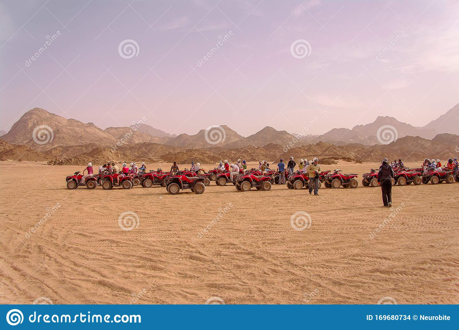Quadricycle Riding By Tourists In Egyptian Sahara Desert During Sahara Safari Tour From Hurghada Editorial Stock Image Image Of Middle Bedouins 169680734