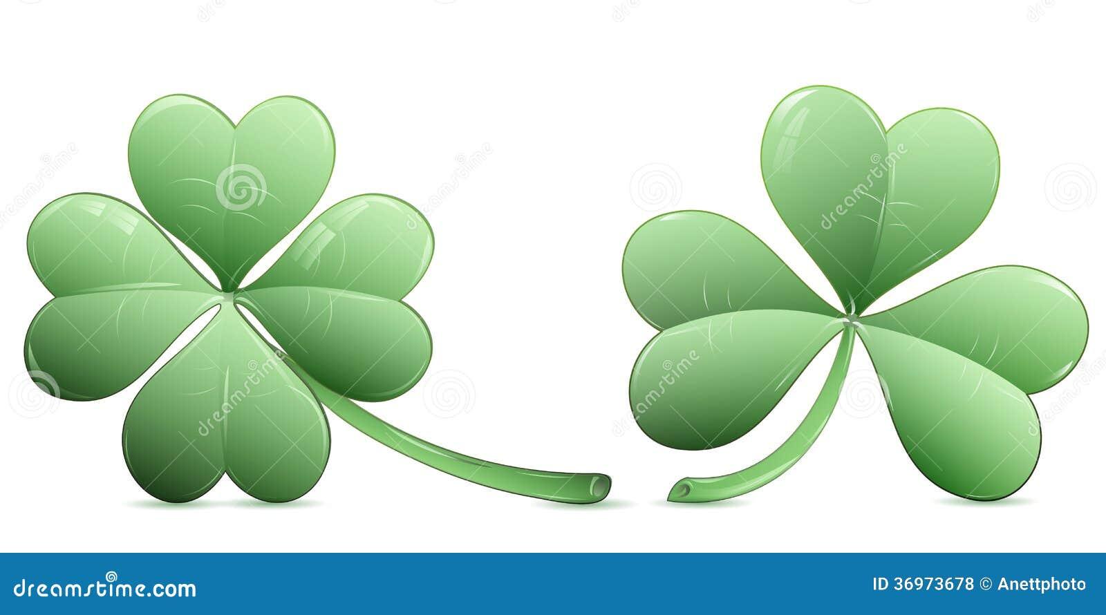 Quadrifoglio e tre icone del trifoglio della foglia - Immagini di quadrifoglio a quattro foglie ...