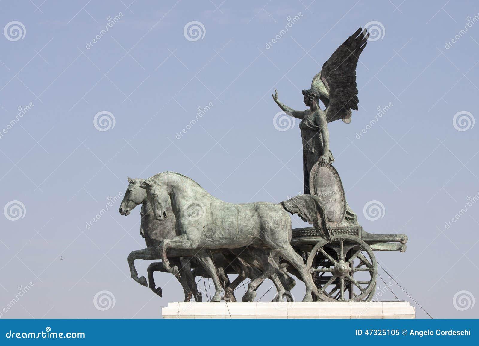 Quadriga rzymski rydwan, rysujący cztery koniami abreast