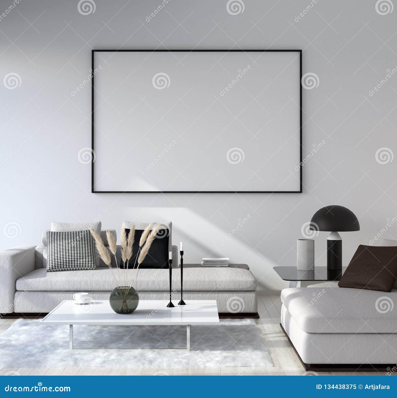 Quadro ascendente trocista do cartaz no fundo interior da casa, sala de visitas moderna do estilo