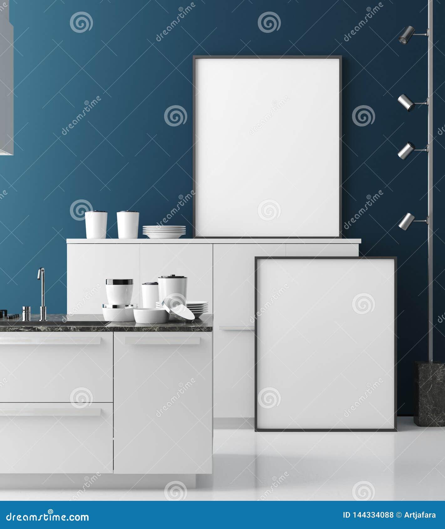 Quadro ascendente trocista do cartaz no interior contemporâneo da cozinha, estilo moderno