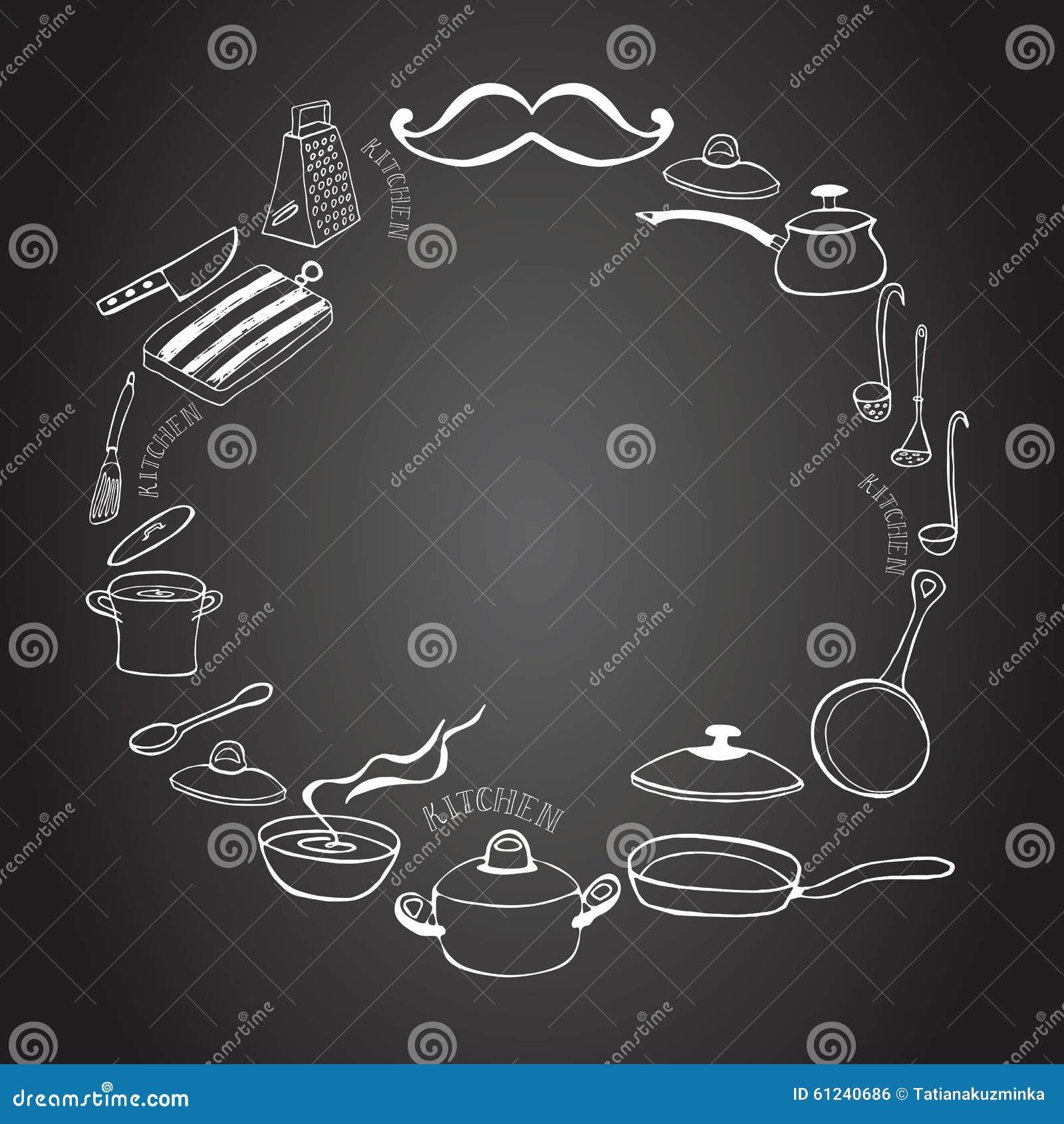 Quadro bonito da cozinha no quadro-negro