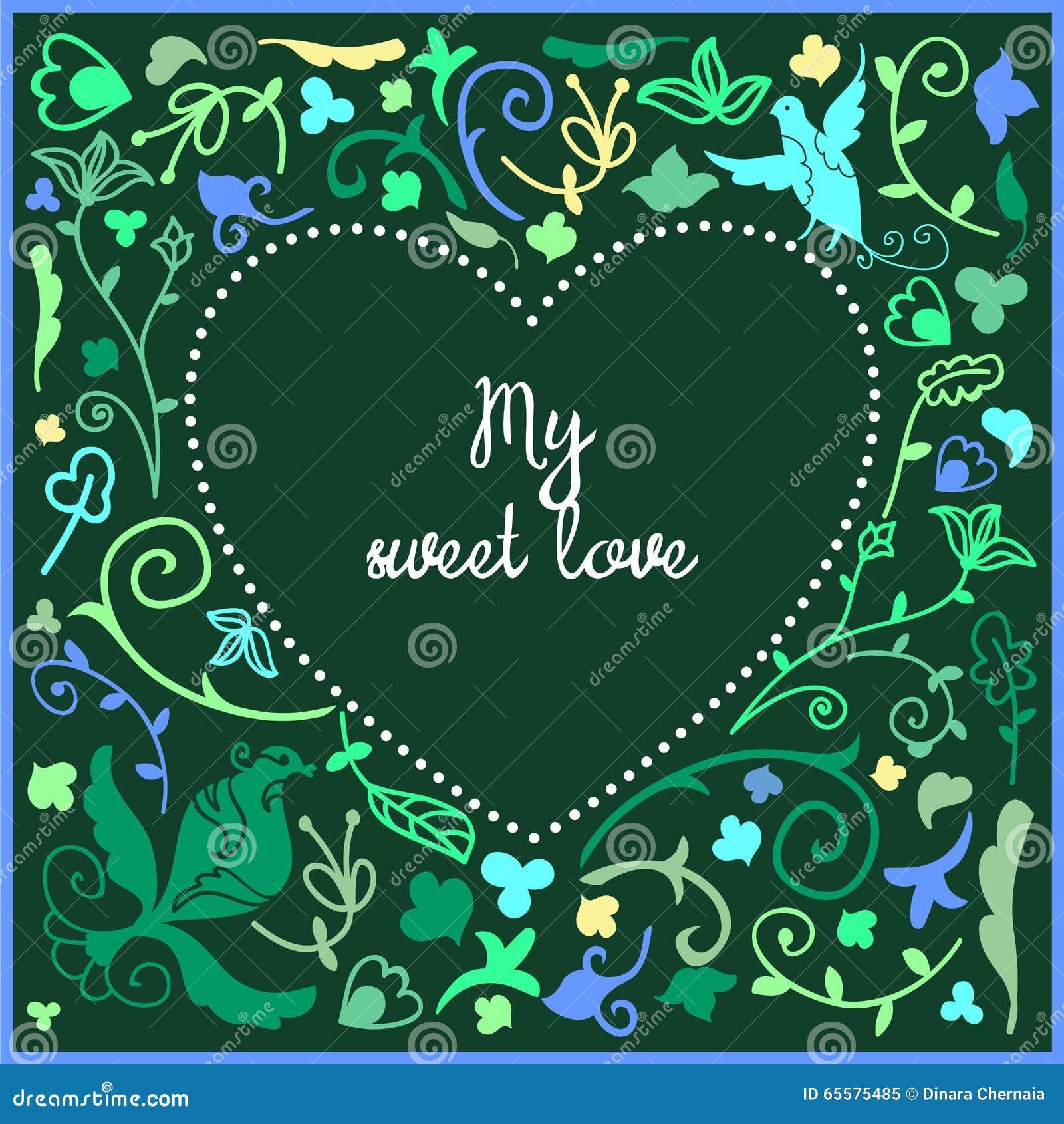 Quadro bonito da garatuja do coração com fundo floral e espaço vazio no centro para o texto