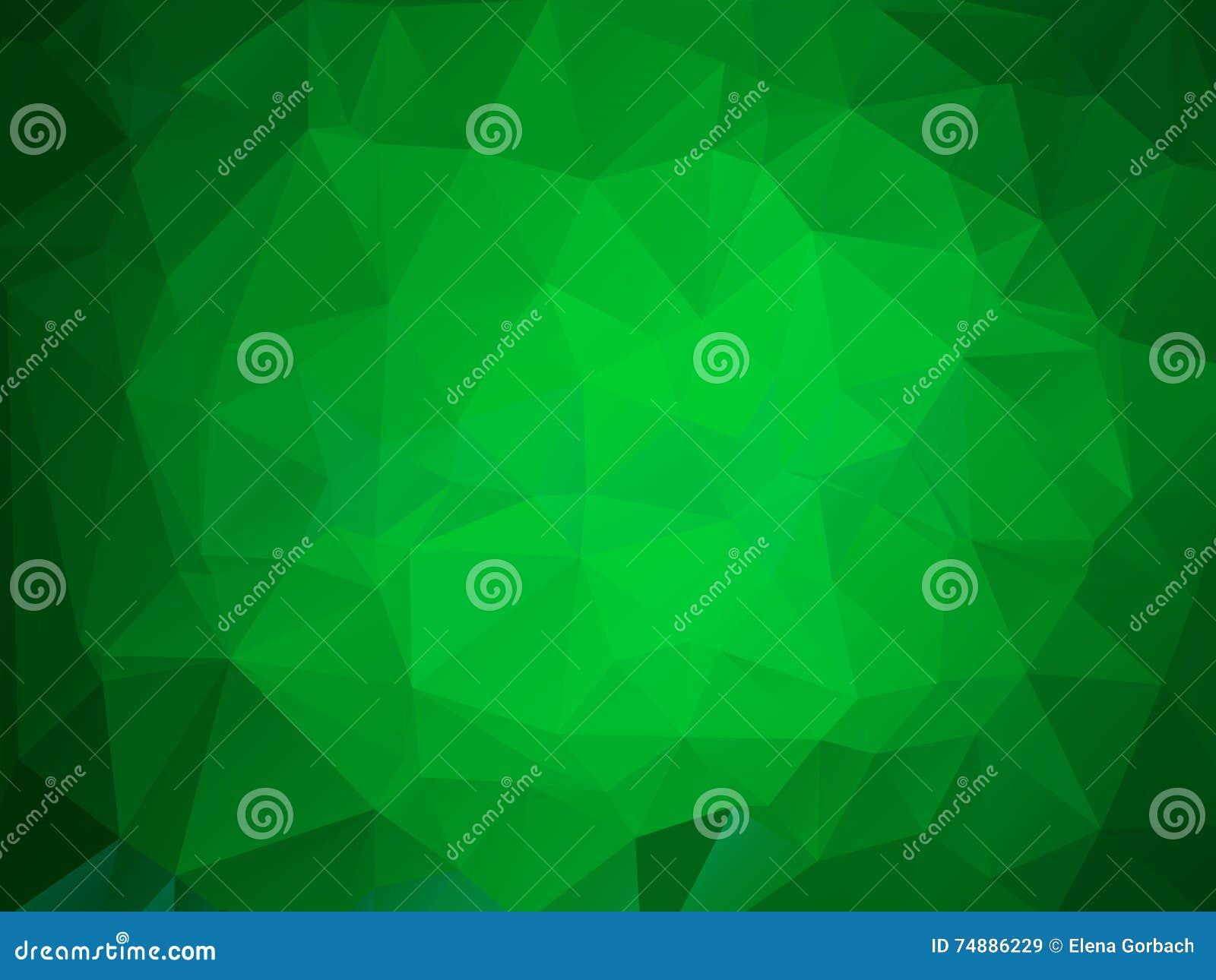 Quadro brilhante verde do vetor do fundo do polígono do triângulo
