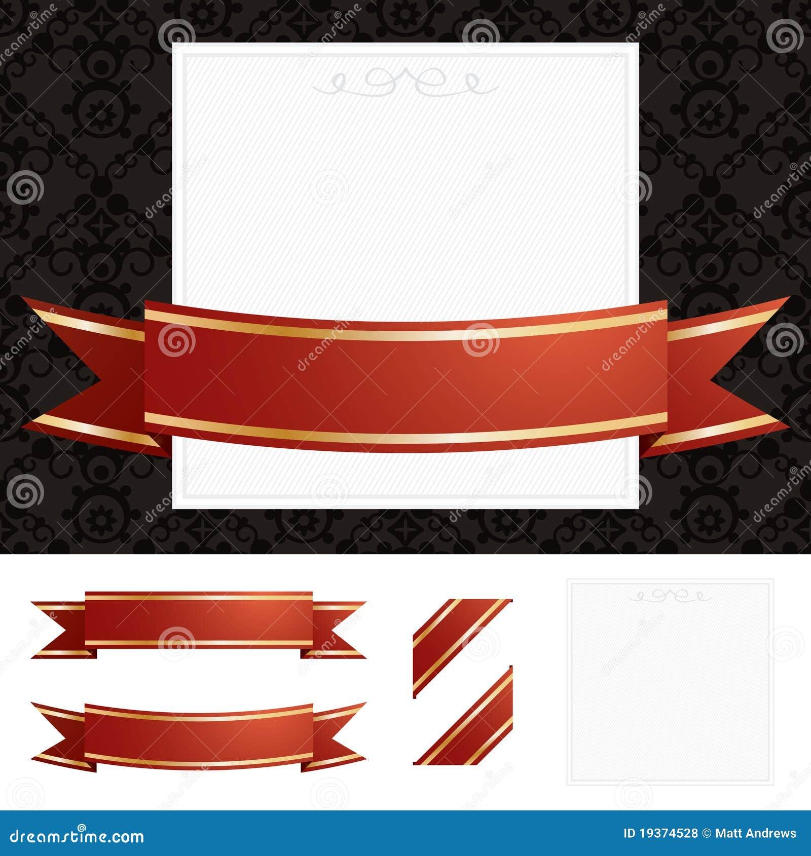 Quadro com vermelho e fita do ouro