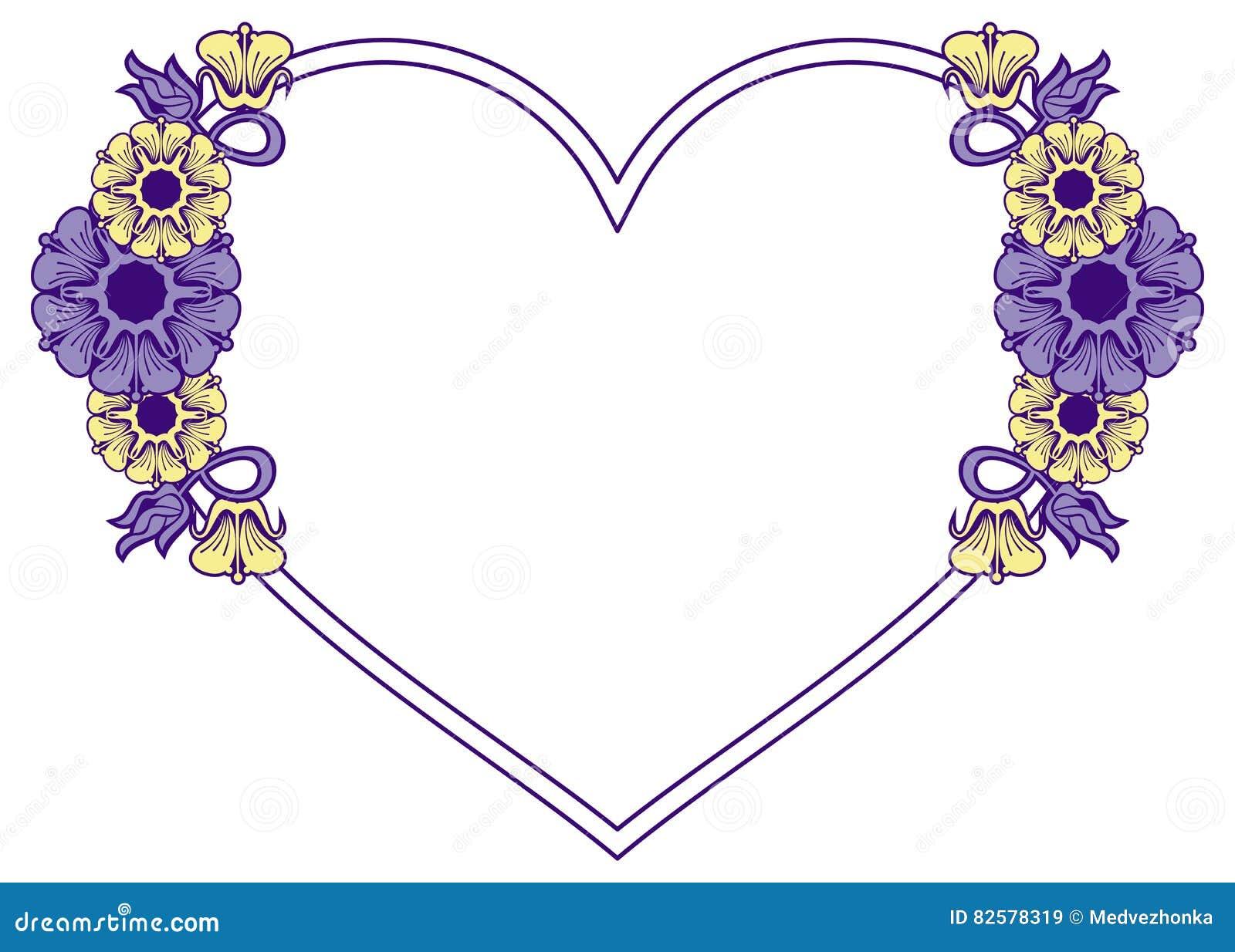 5d3527d37 Quadro Coração-dado Forma Com Flores Decorativas Imagem de Stock ...