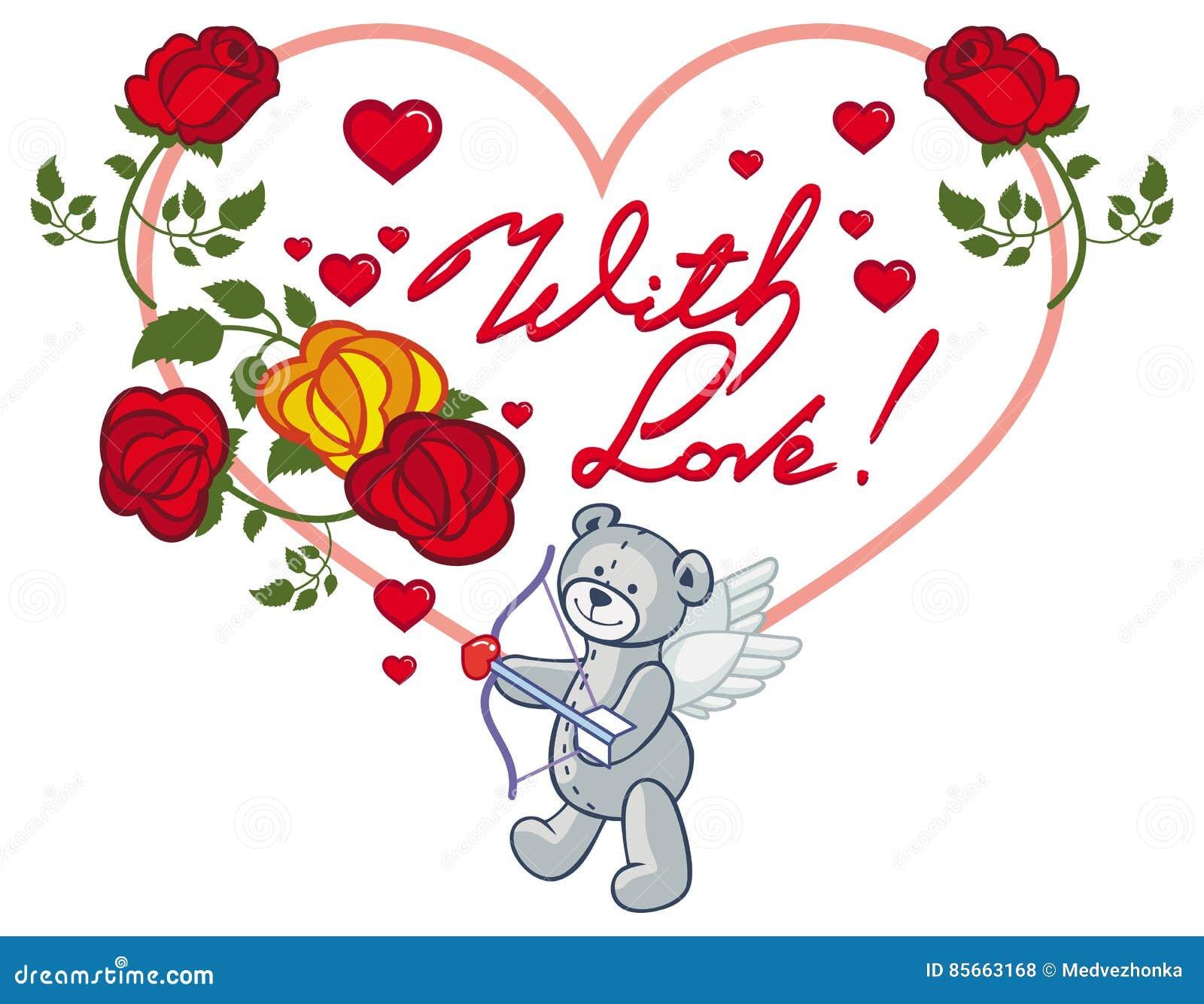 Quadro Coração Dado Forma Com Rosas Vermelhas E Urso De Peluche