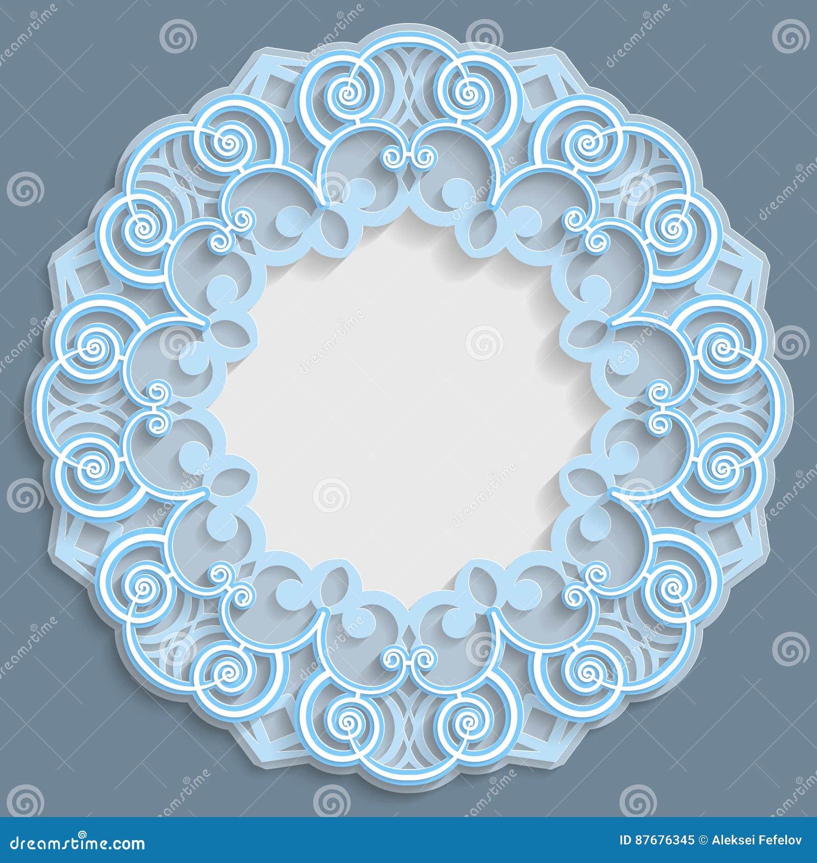 Quadro 3D redondo para uma foto ou uma imagem, vinheta com ornamento, beira do laço, ornamento do bas-relevo, teste padrão a céu