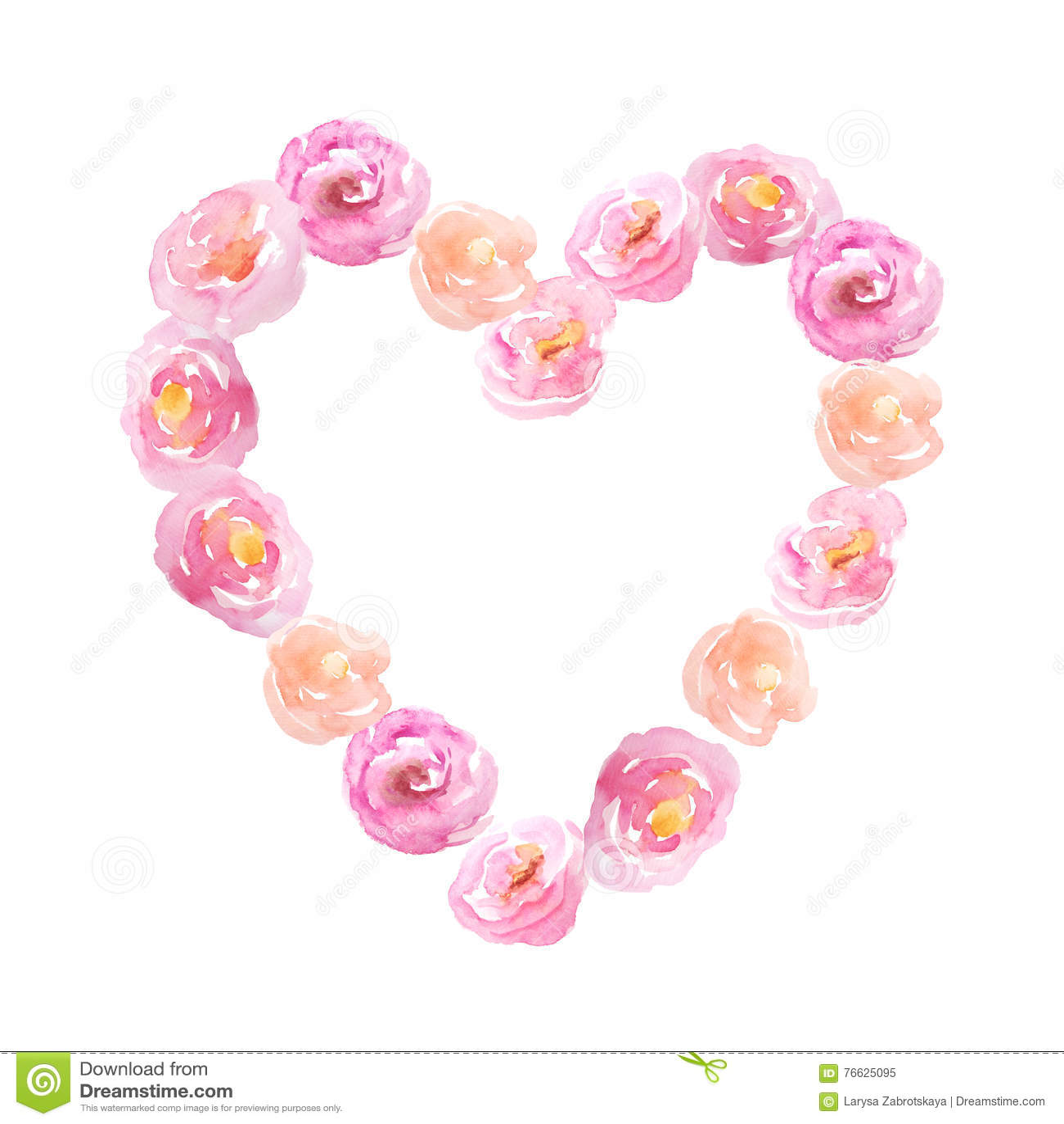 8995cd85c O coração cor-de-rosa com aquarela pintado à mão floresce no estilo  romântico da forma O fundo floral decorativo perfeito para a fatura do  cartão