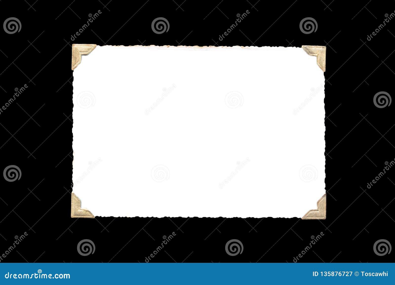Quadro da foto - a foto velha real com espaço vazio branco para a foto da cópia com ouro coloriu cantos do suporte da foto isolad