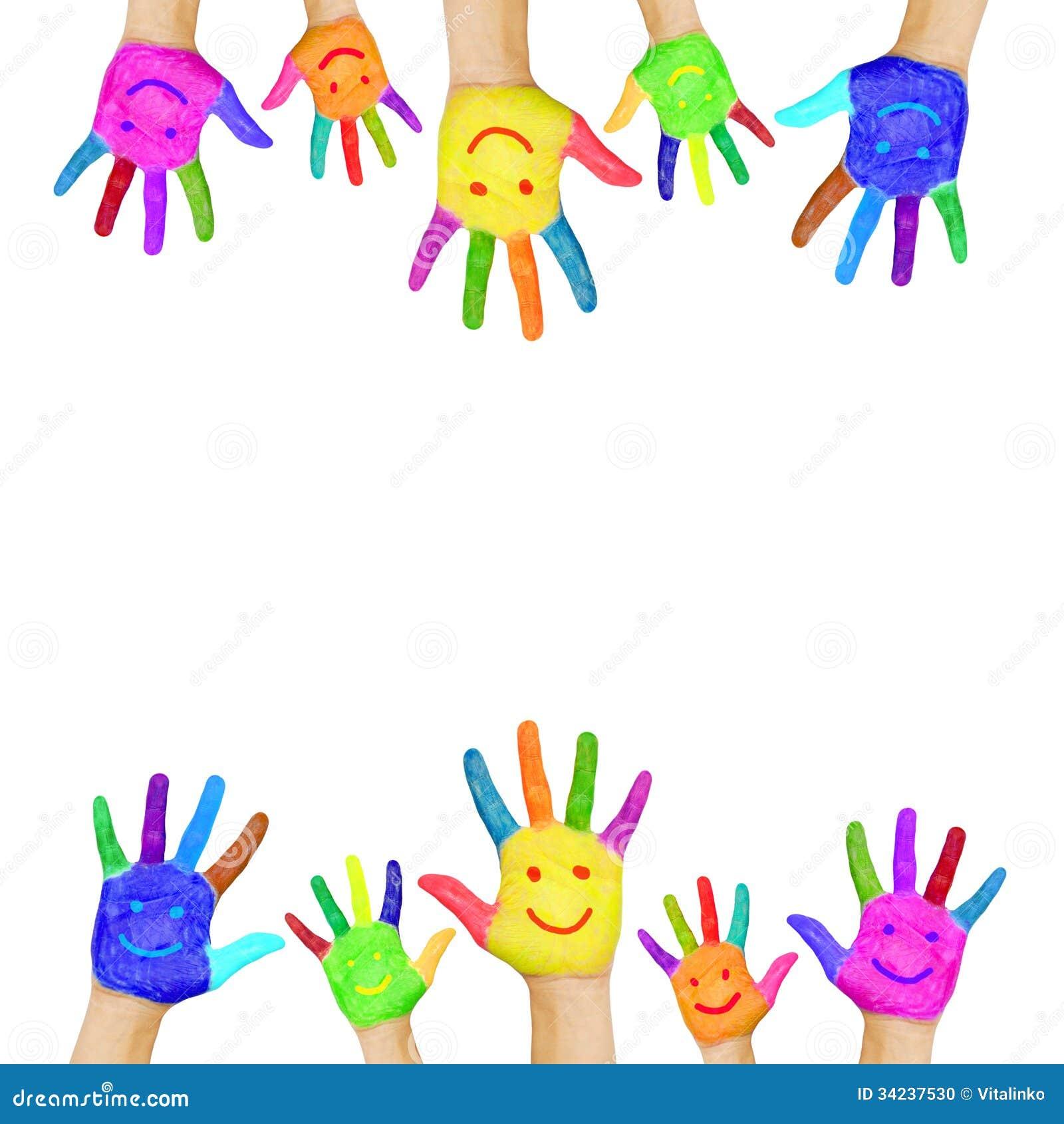 Quadro Das Maos Coloridas Pintadas Com Caras De Sorriso