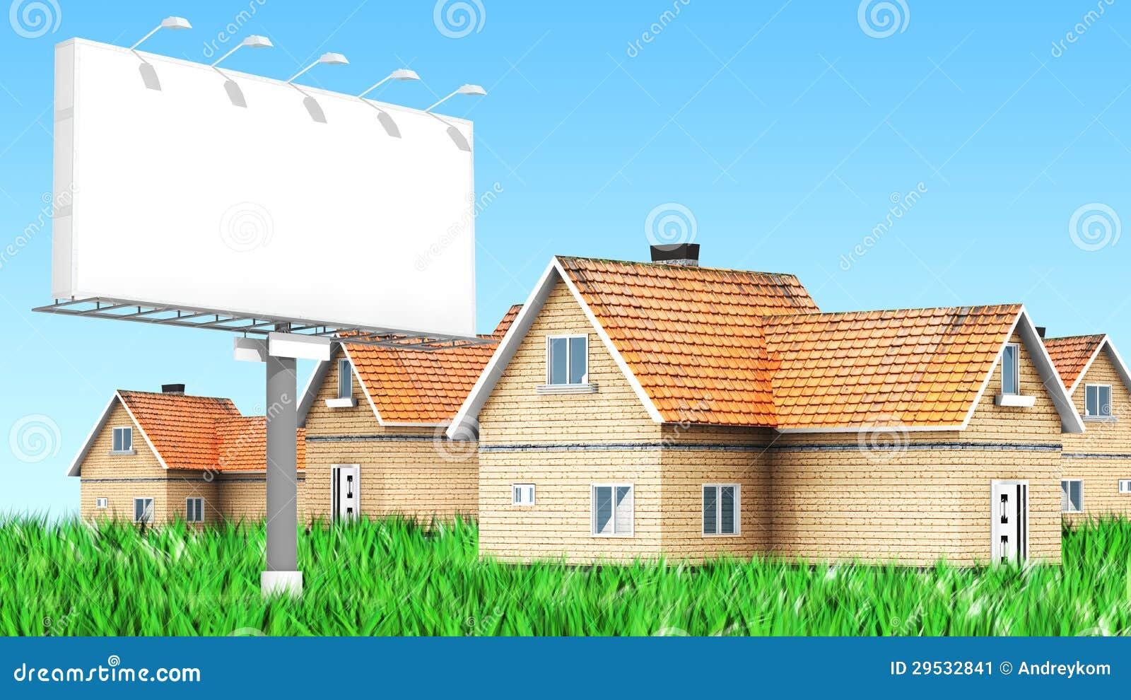 Quadro de avisos de propaganda com casas
