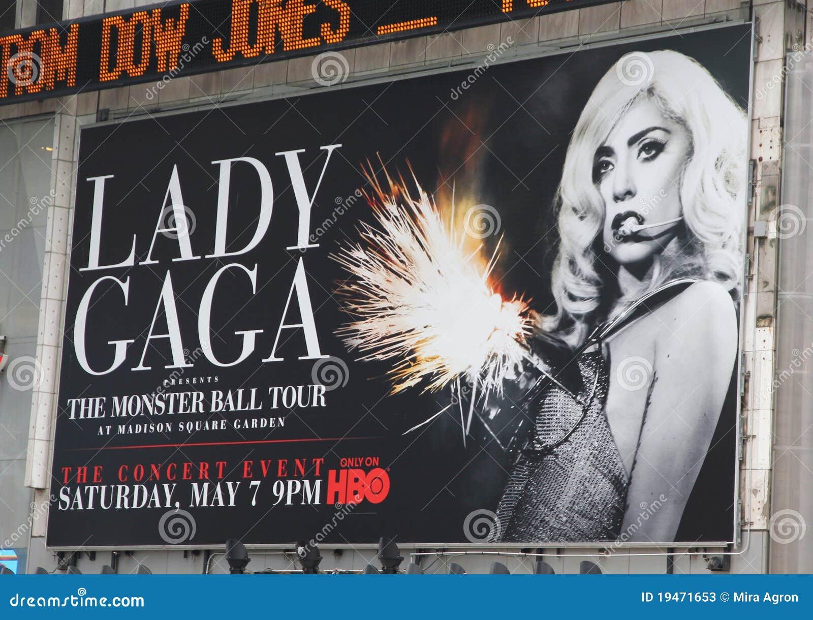 Quadro de avisos do concerto da senhora Gaga