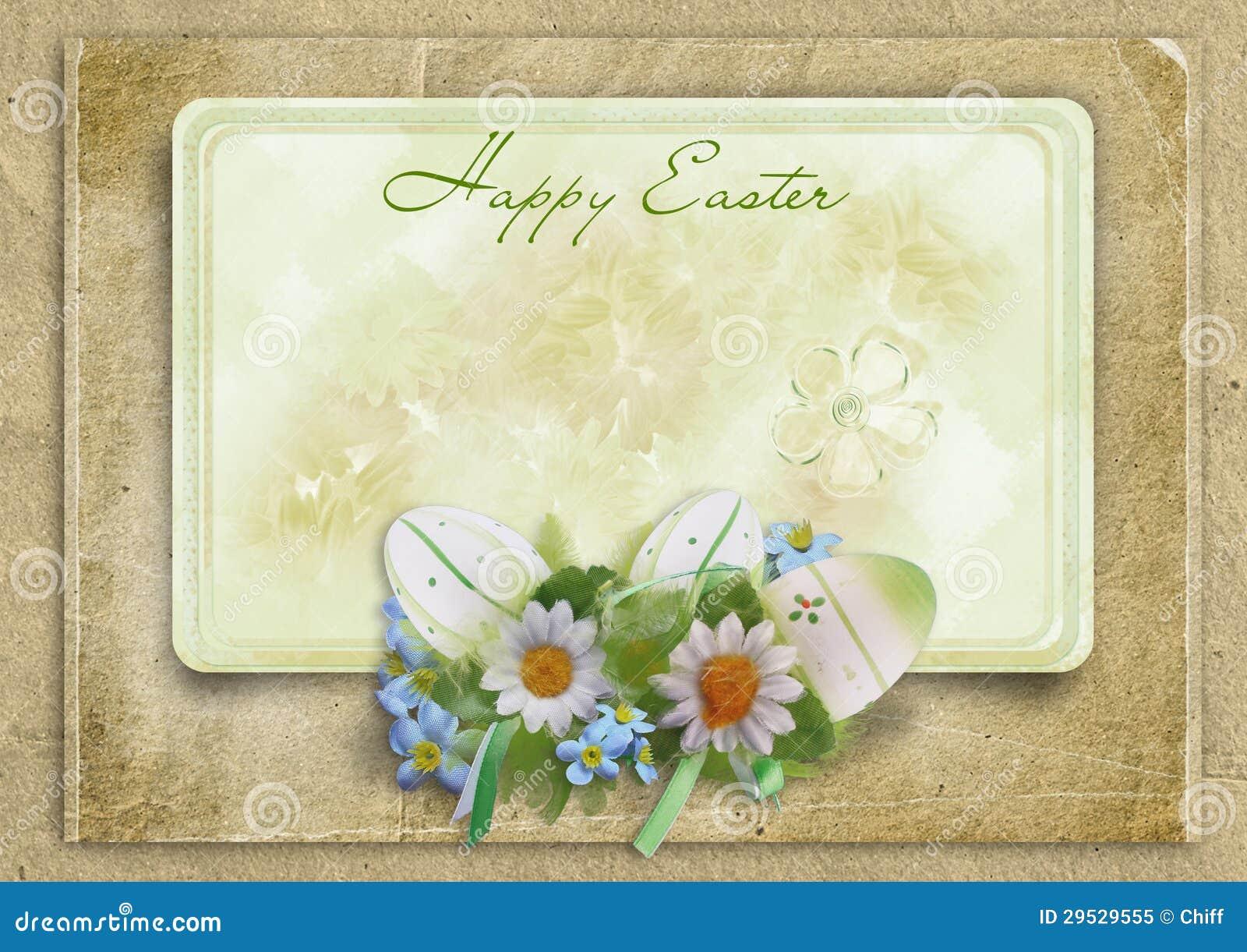 Quadro de Easter do cumprimento com ovos e coelho em um backgroun do vintage