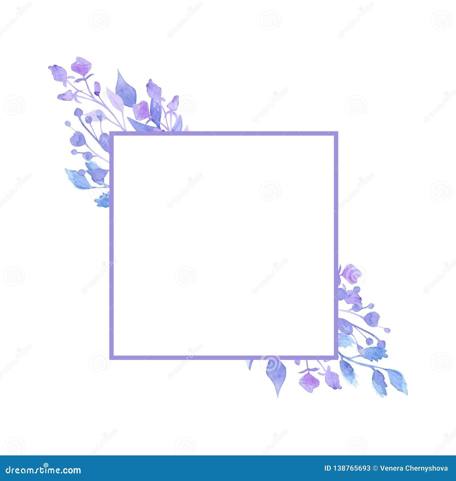 Quadro De Flores Delicadas Lilas Bonitas Desenho Da Aguarela