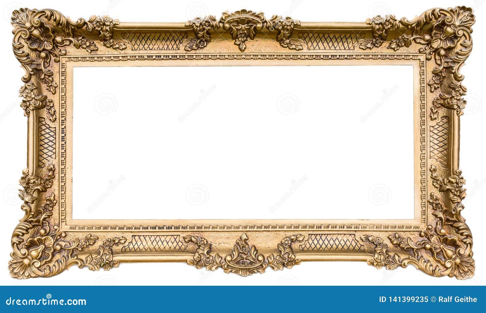 Quadro de madeira dourado ornamentado como um original isolado