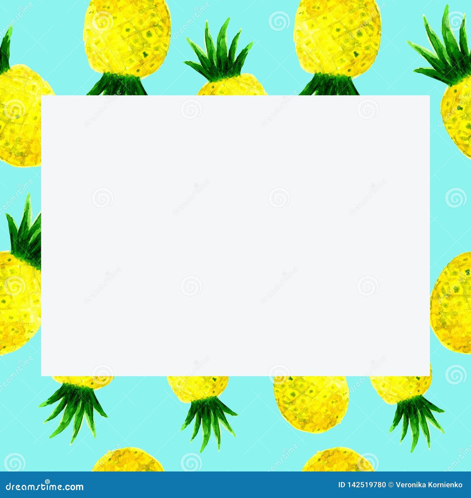 Quadro do ananás da aquarela no azul